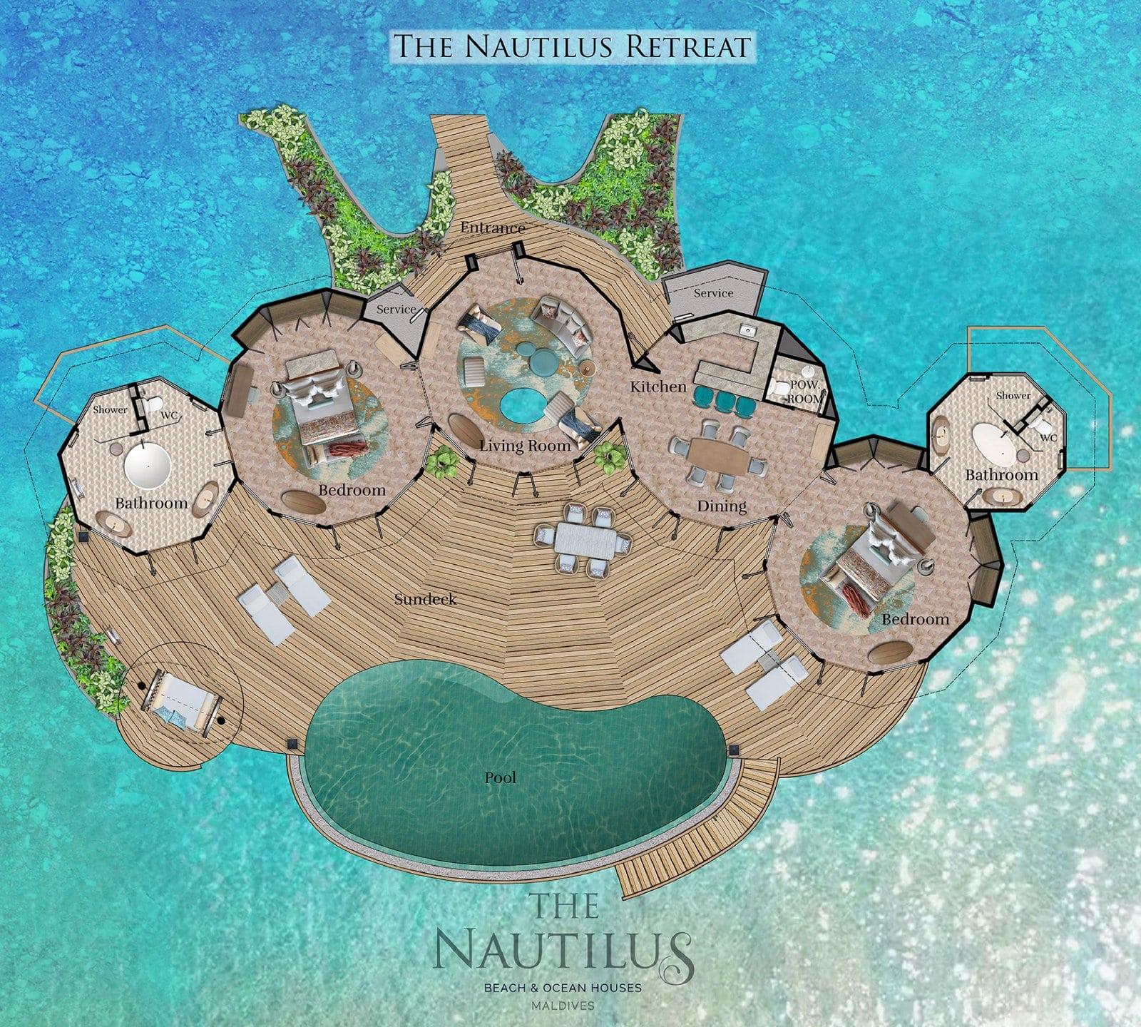 Мальдивы, отель The Nautilus Maldives, план-схема номера Two-Bedroom The Nautilus Retreat