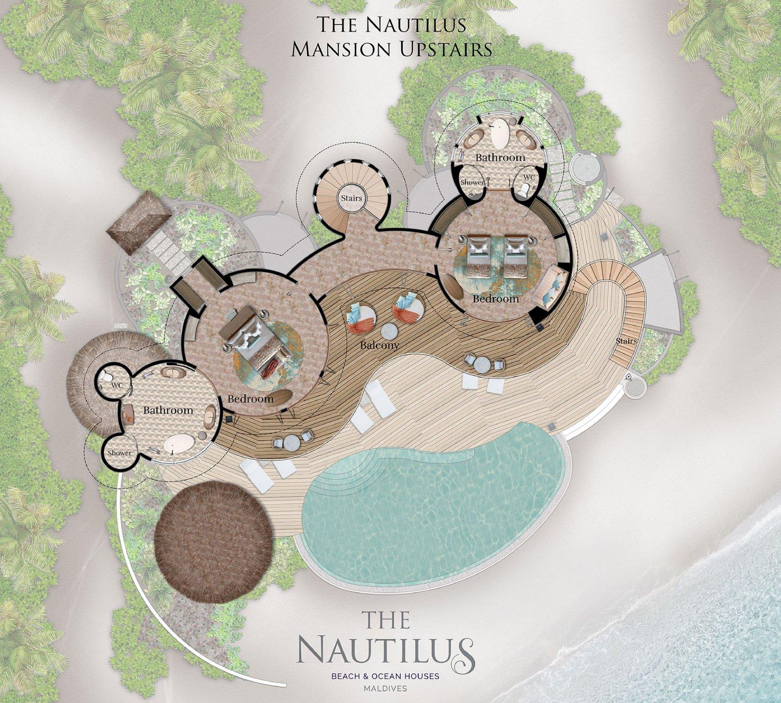 Мальдивы, отель The Nautilus Maldives, план-схема номера Three-Bedroom The Nautilus Mansion