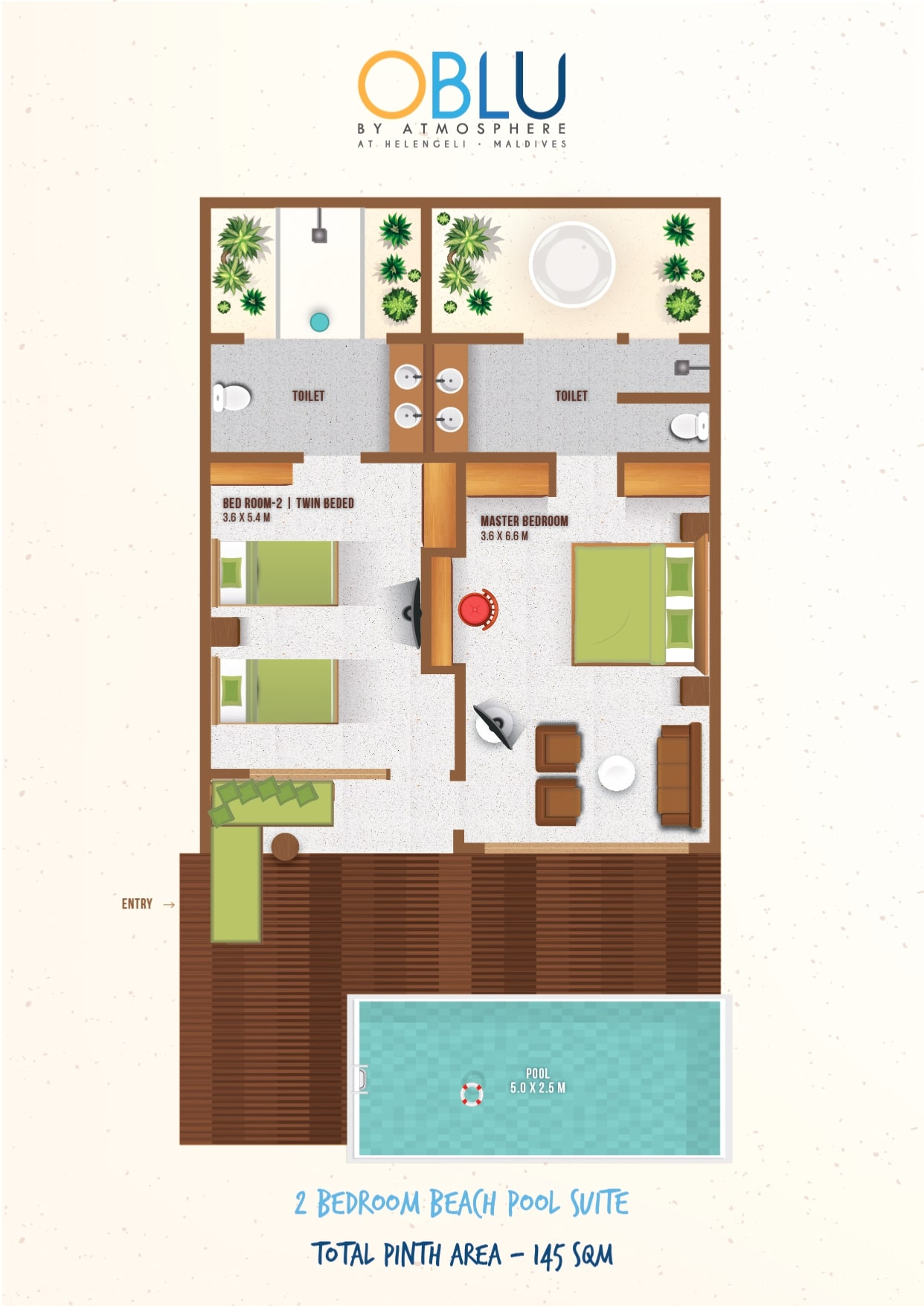 Мальдивы, отель OBLU by Atmosphere at Helengeli, план-схема номера Beach Suite with Pool