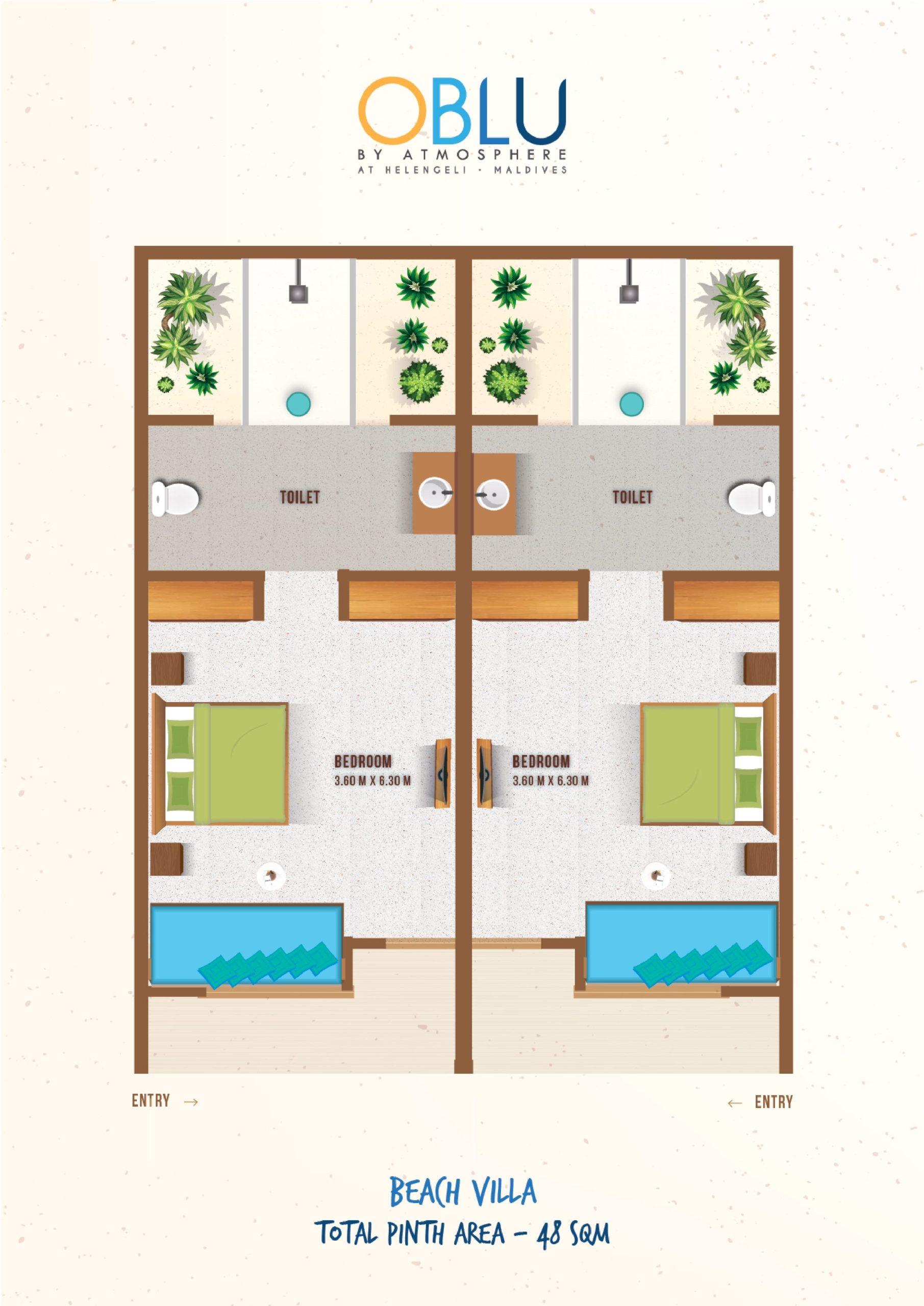 Мальдивы, отель OBLU by Atmosphere at Helengeli, план-схема номера Beach Villa