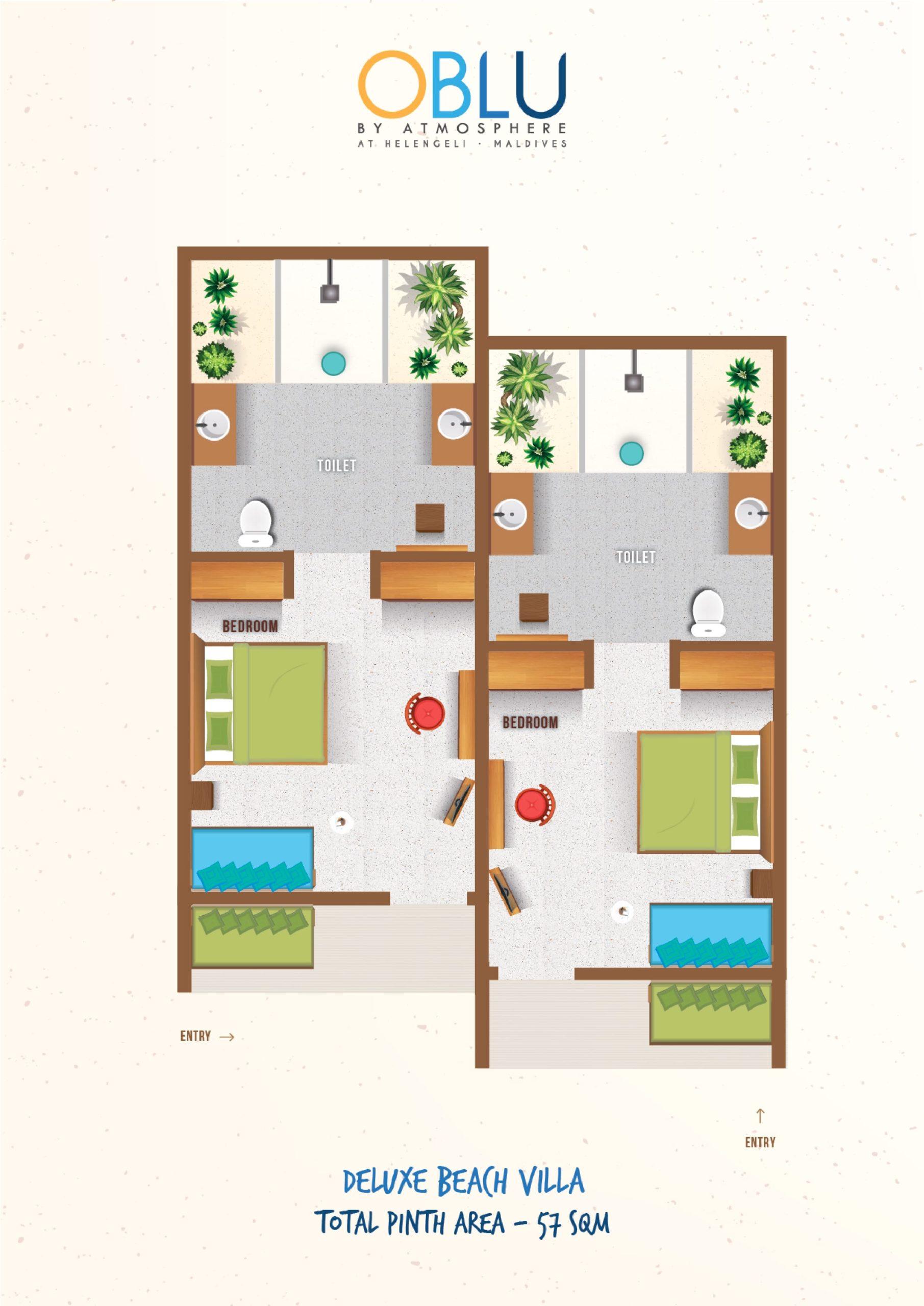 Мальдивы, отель OBLU by Atmosphere at Helengeli, план-схема номера Deluxe Beach Villa