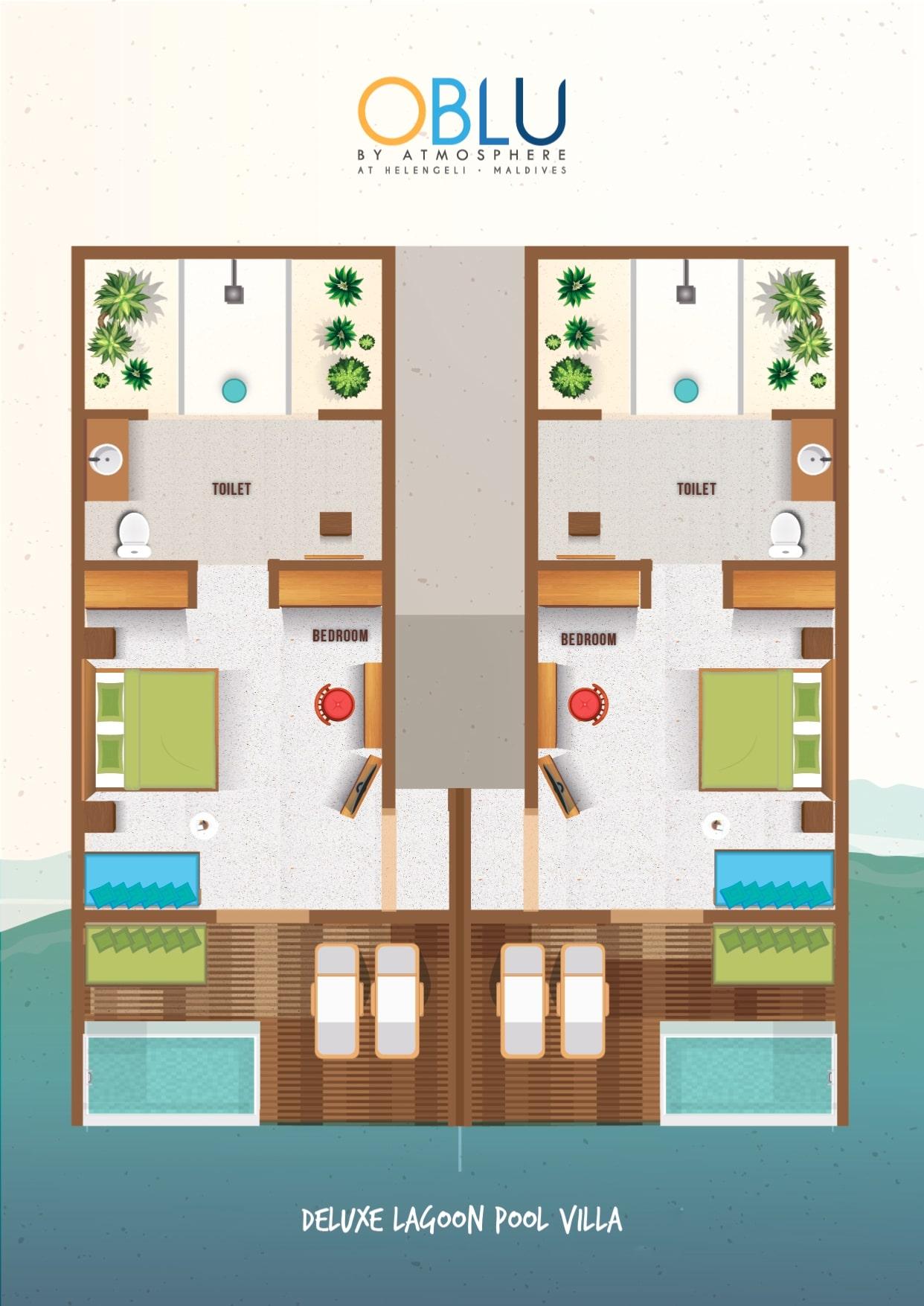 Мальдивы, отель OBLU by Atmosphere at Helengeli, план-схема номера Water Villa with Pool