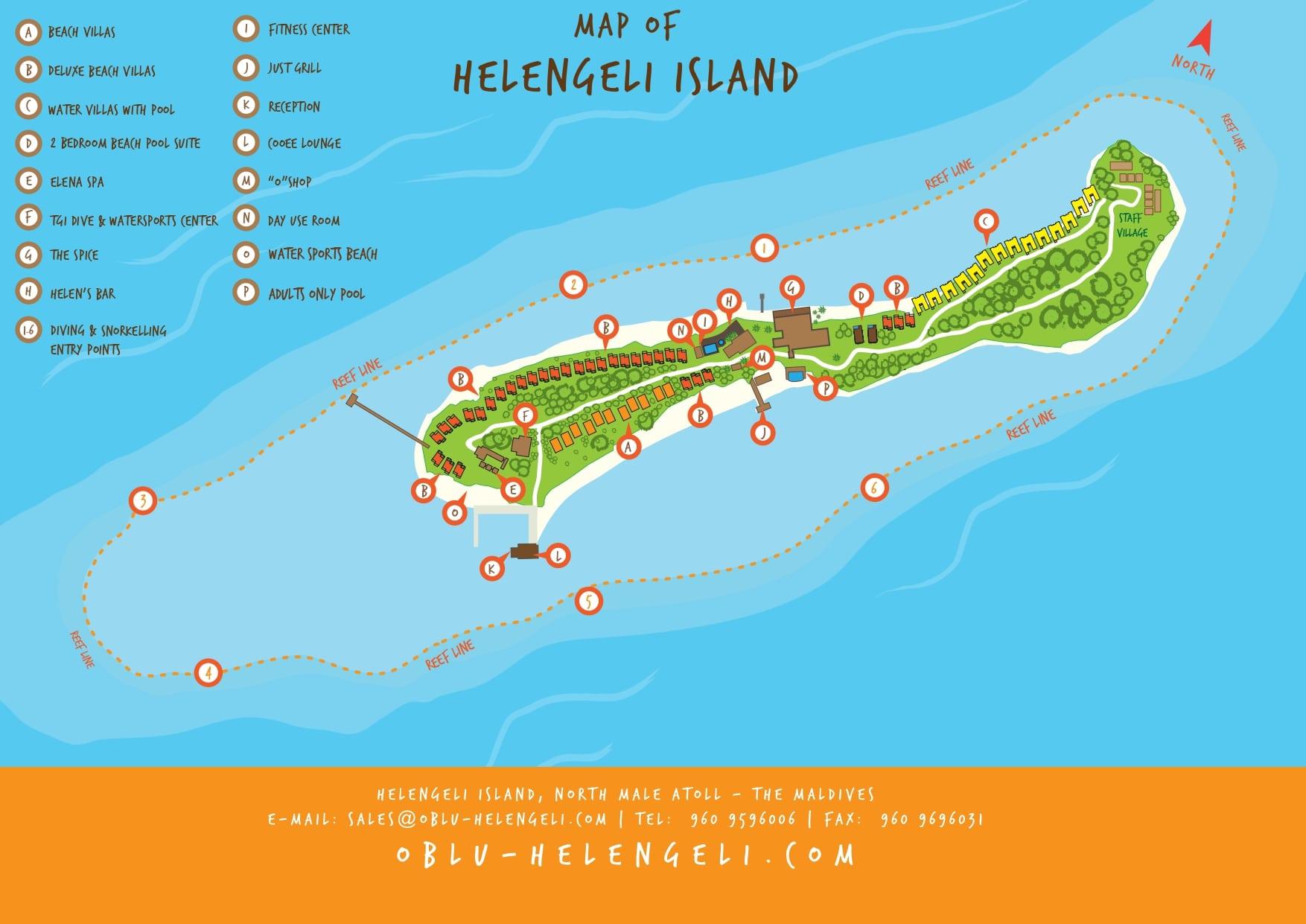 Мальдивы, OBLU by Atmosphere at Helengeli, карта отеля