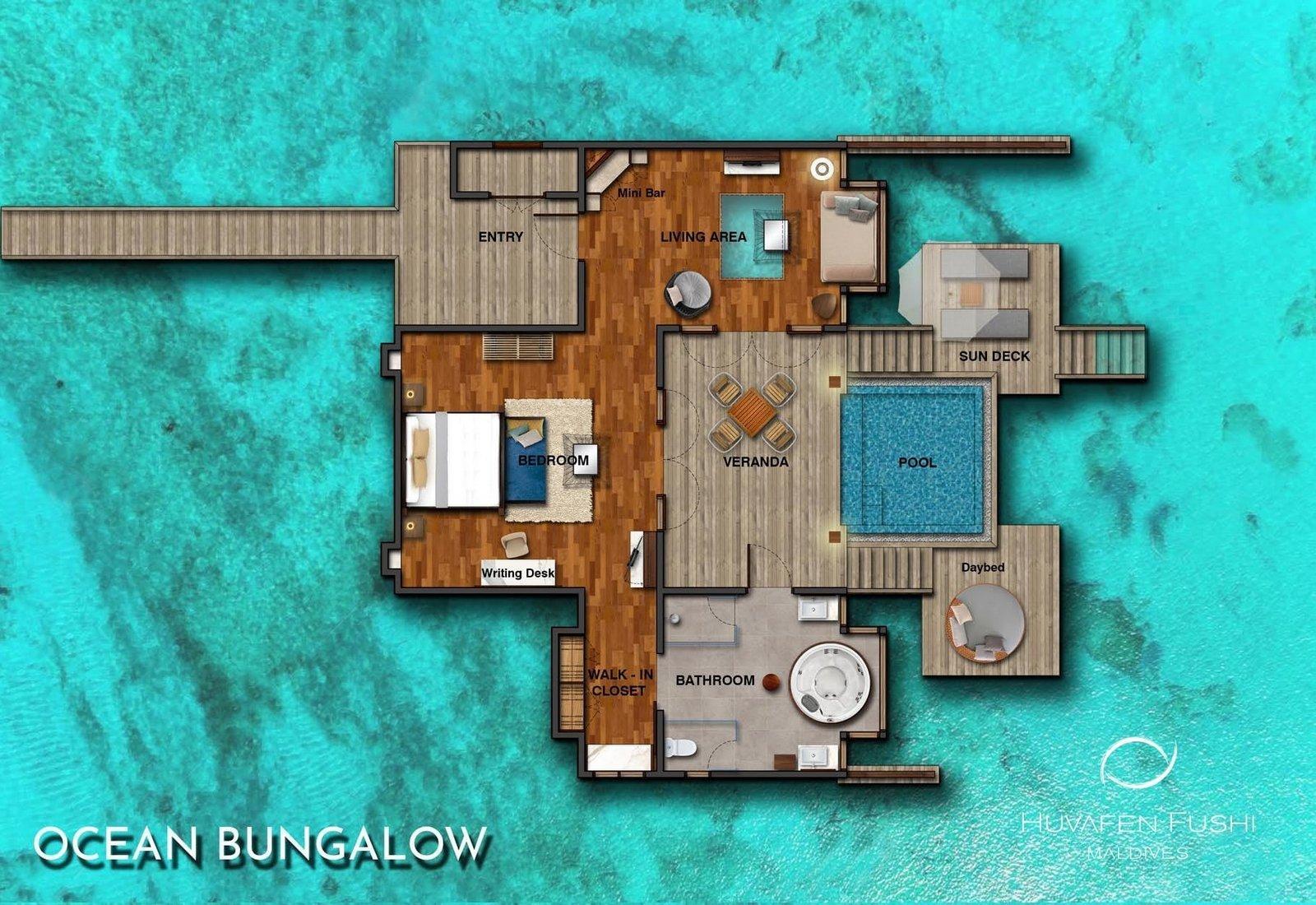 Мальдивы, отель Huvafen Fushi Maldives, план-схема номера Ocean Bungalow with Pool