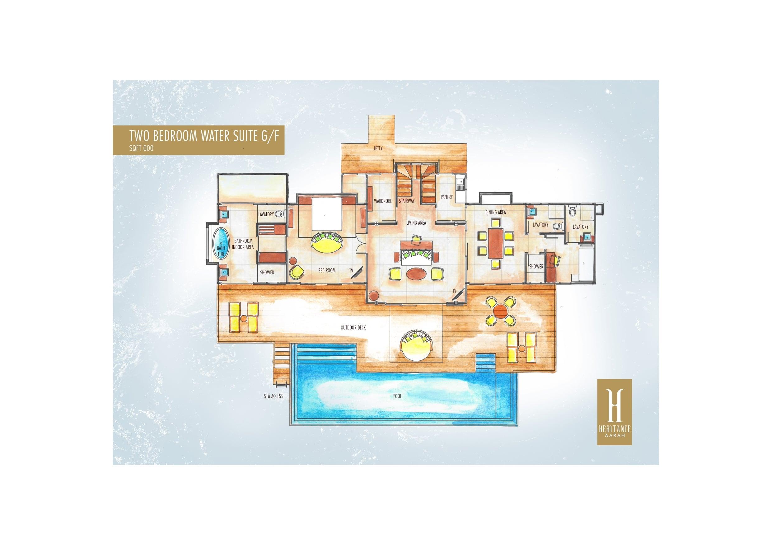 Мальдивы, отель Heritance Aarah, план-схема номера Ocean Suite with Pool