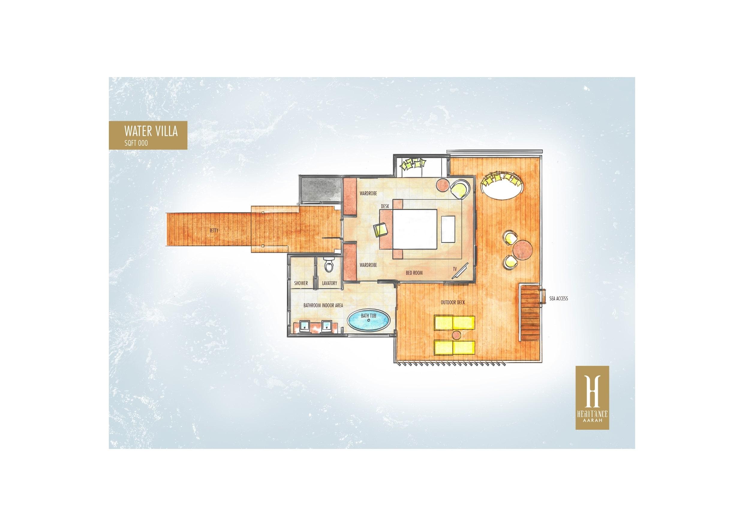 Мальдивы, отель Heritance Aarah, план-схема номера Ocean Villa