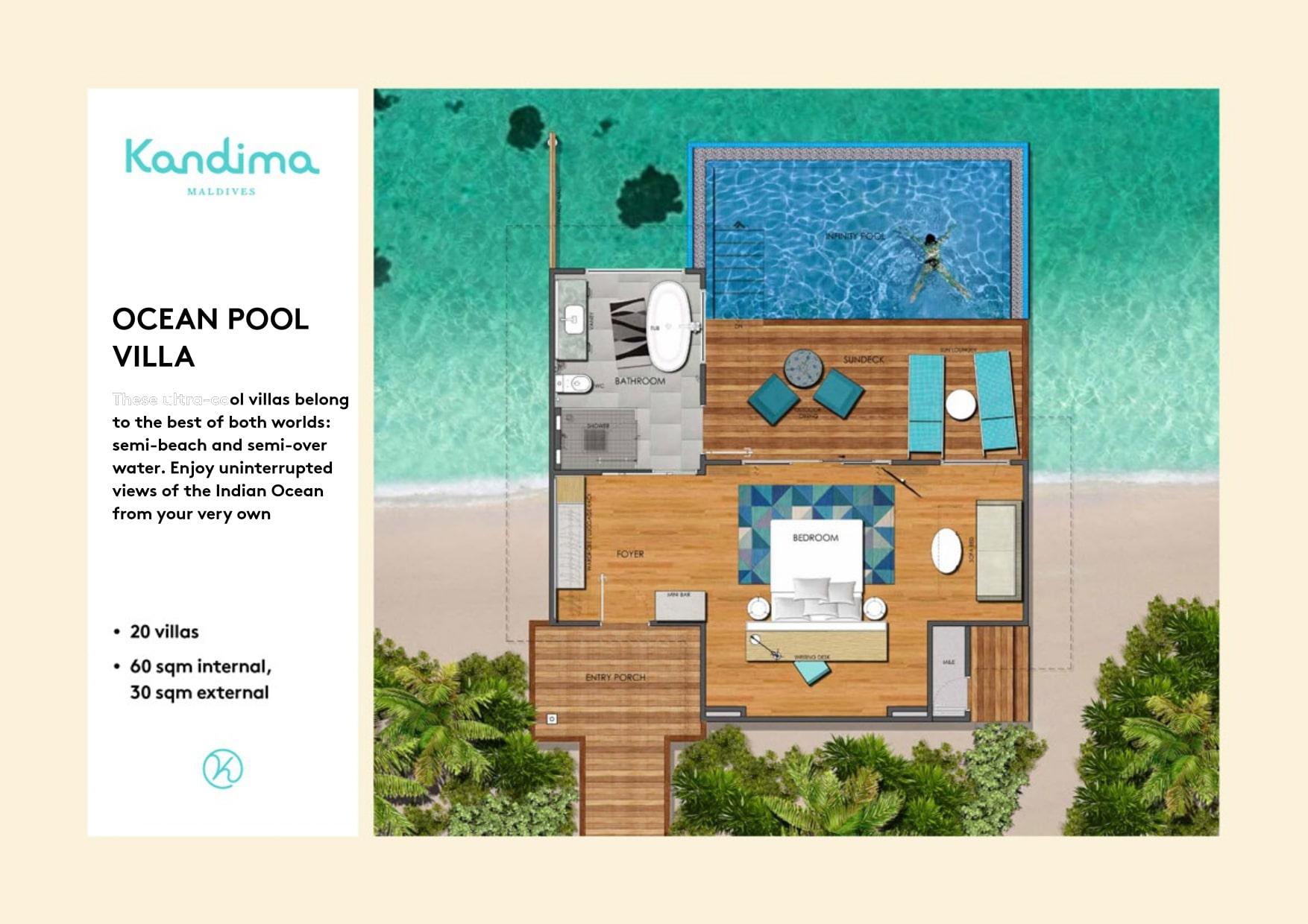 Мальдивы, отель Kandima Maldives, план-схема номера Ocean Pool Villa