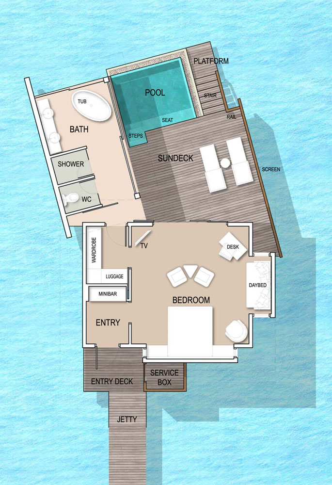 Мальдивы, отель Kandolhu Maldives, план-схема номера Ocean Pool Villa