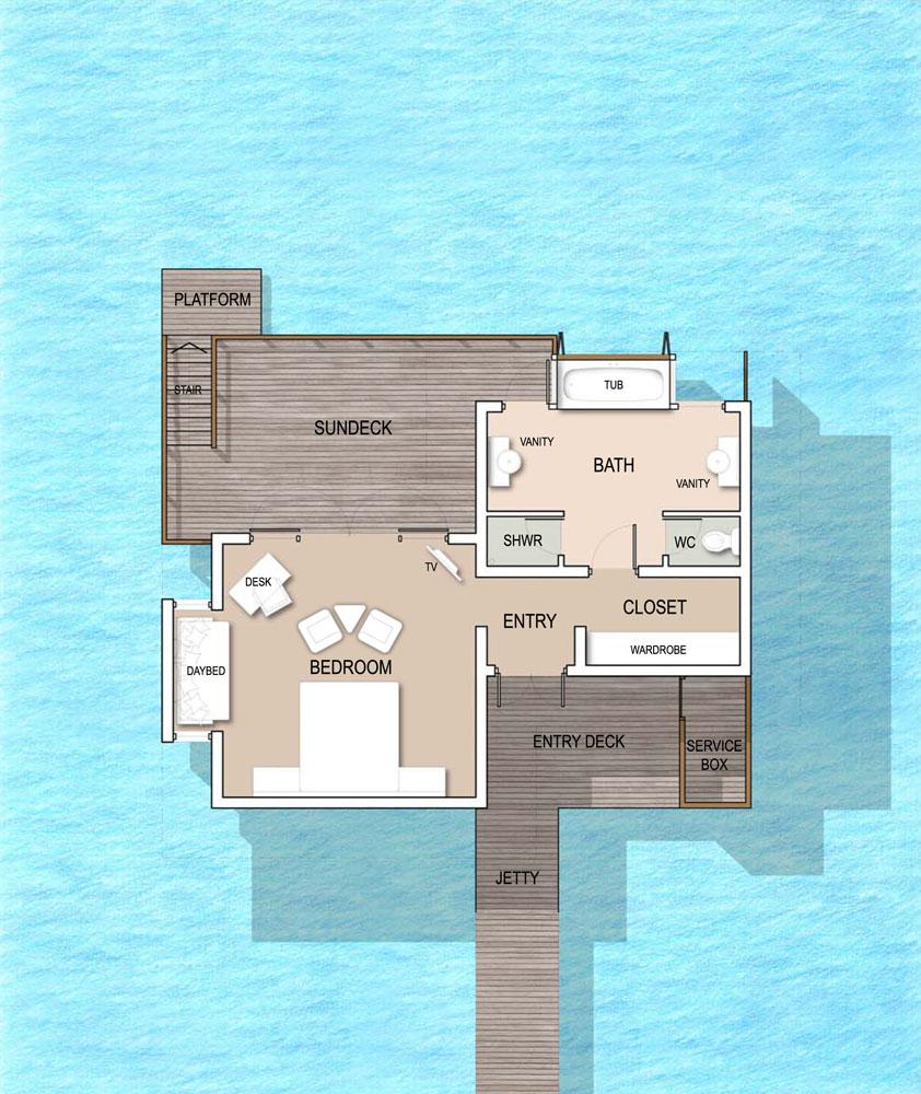 Мальдивы, отель Kandolhu Maldives, план-схема номера Ocean Villa