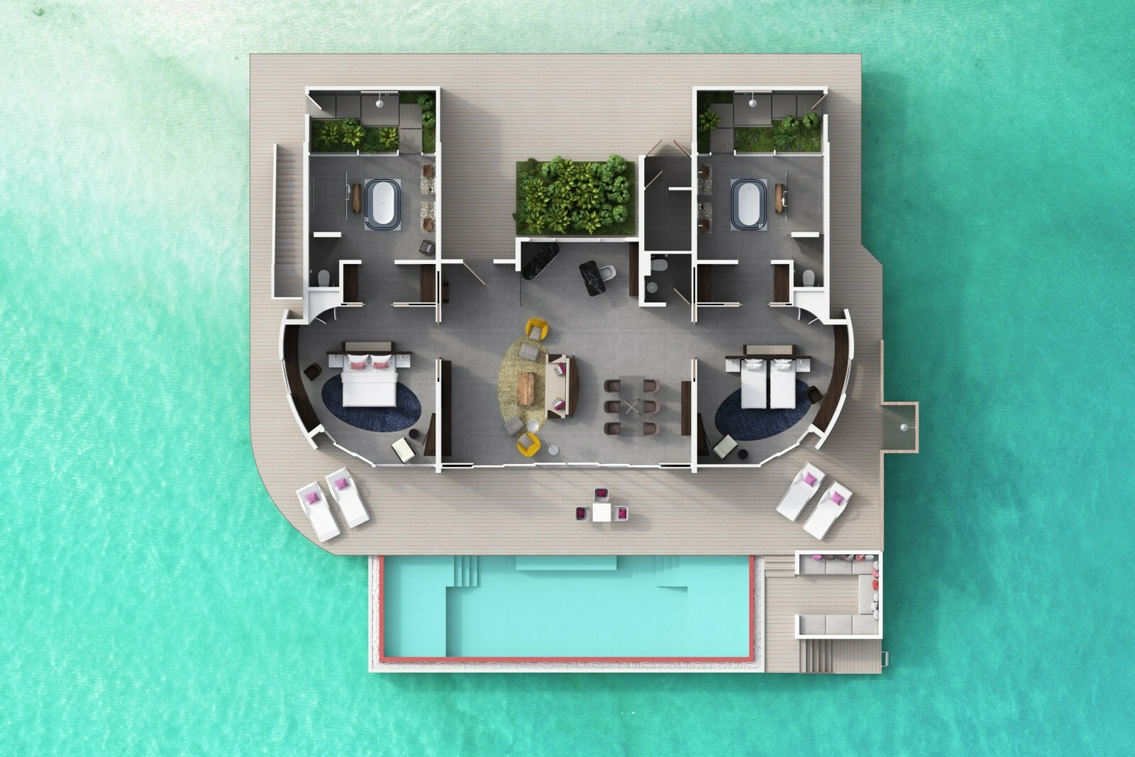 Мальдивы, отель LUX North Male Atoll, план-схема номера Over Water Residence 2 Bedroom with Pool