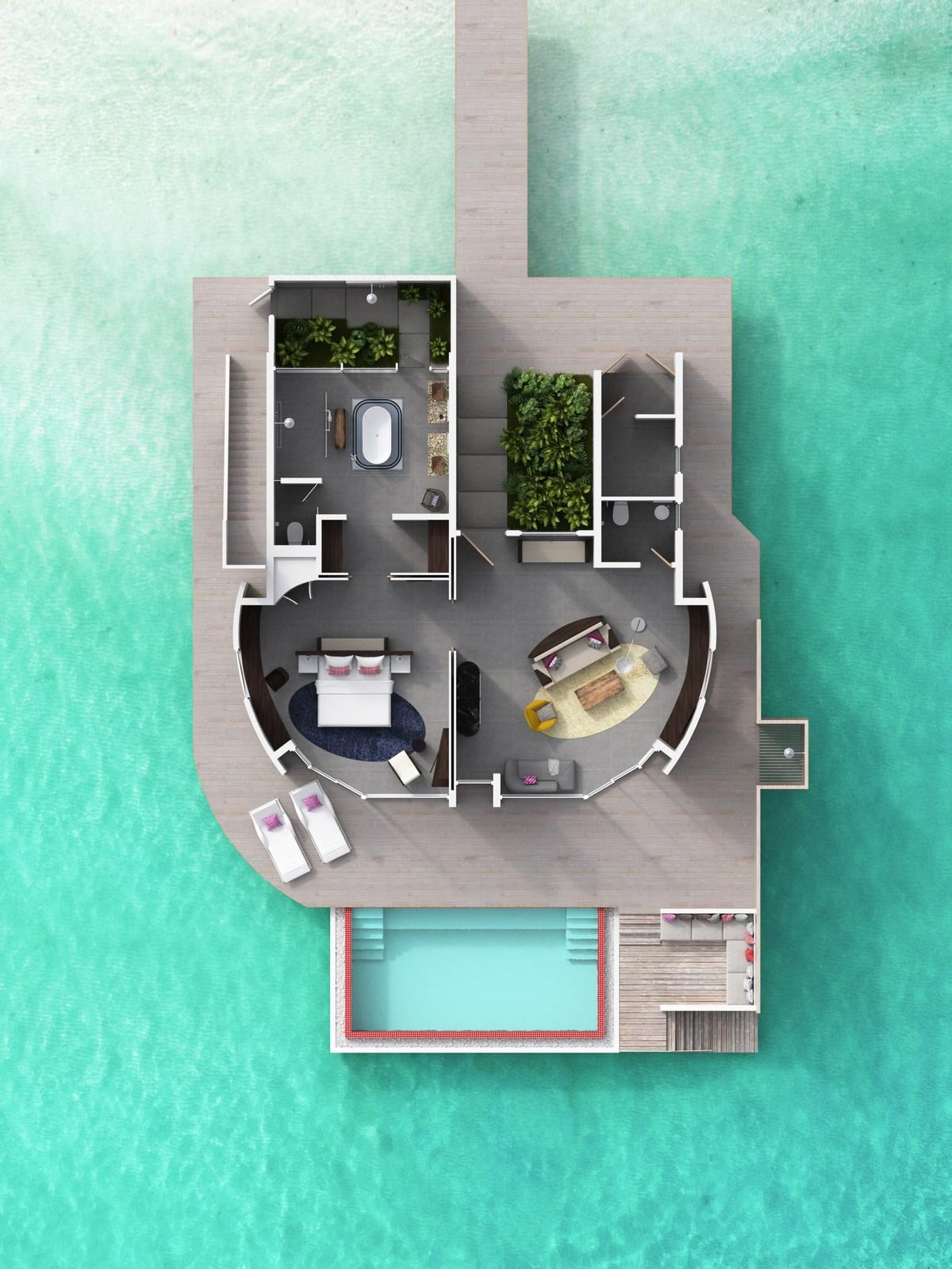 Мальдивы, отель LUX North Male Atoll, план-схема номера Water Villa with Pool