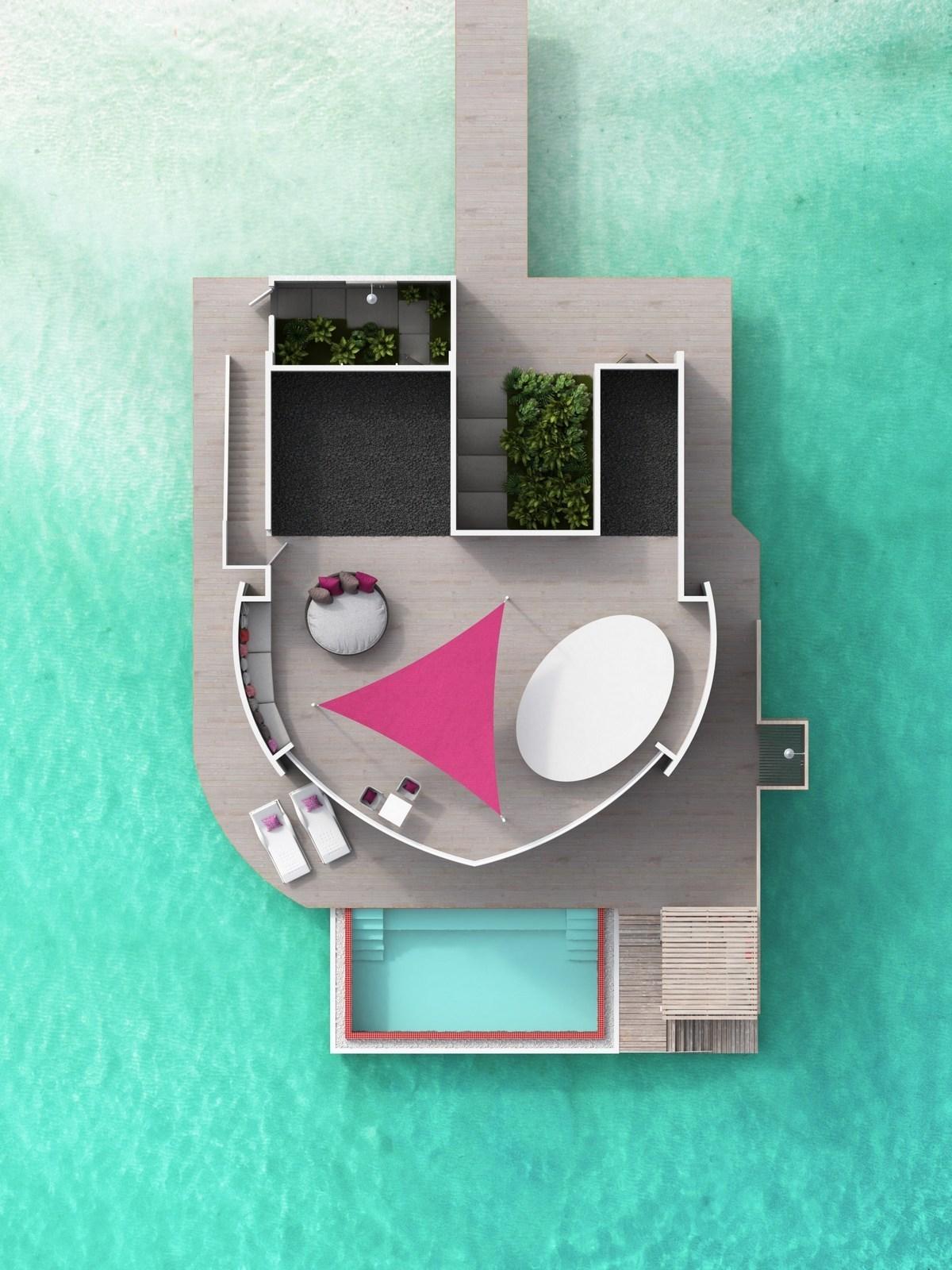 Мальдивы, отель LUX North Male Atoll, план-схема номера Deluxe Water Villa with Pool