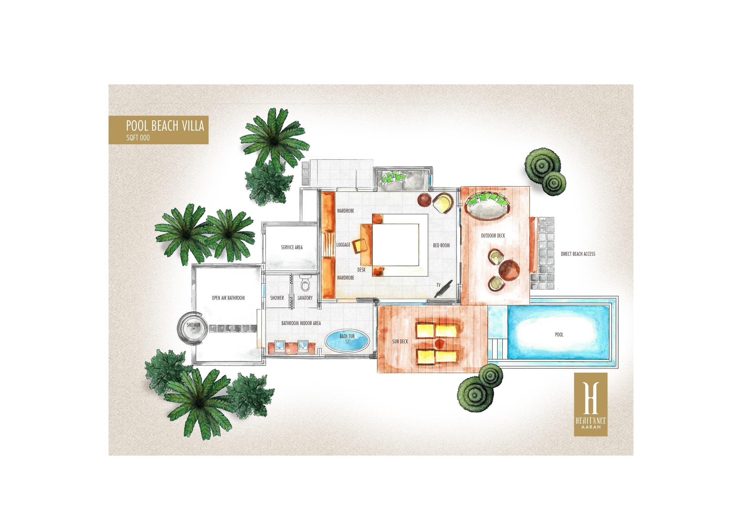 Мальдивы, отель Heritance Aarah, план-схема номера Beach Pool Villa