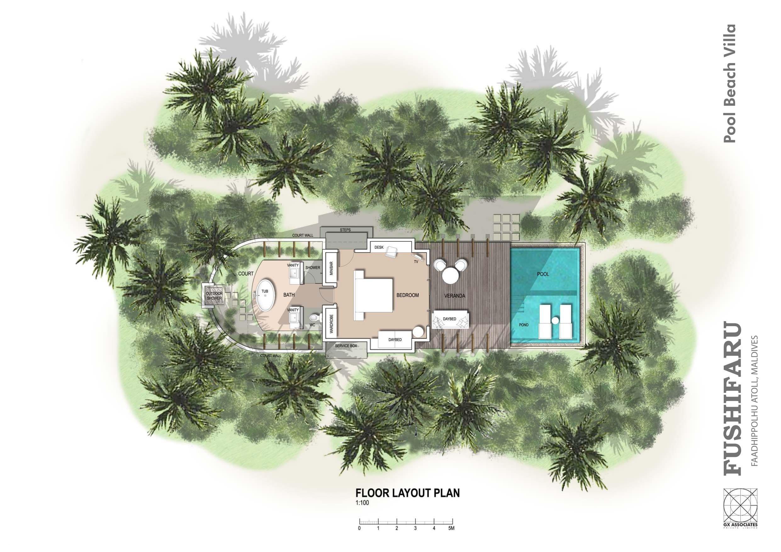 Мальдивы, отель Fushifaru Maldives, план-схема номера Pool Beach Villa