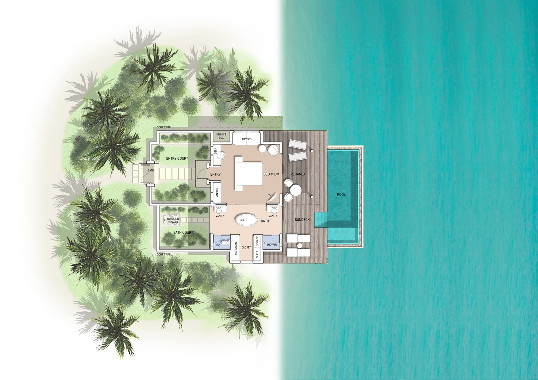 Мальдивы, отель Kuramathi Maldives, план-схема номера Pool Villa