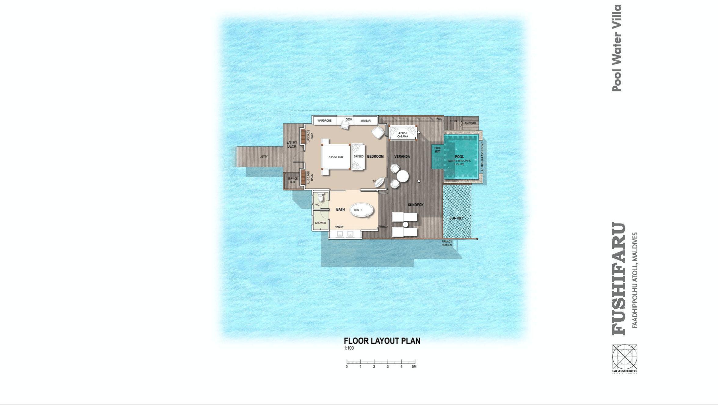 Мальдивы, отель Fushifaru Maldives, план-схема номера Pool Water Villa