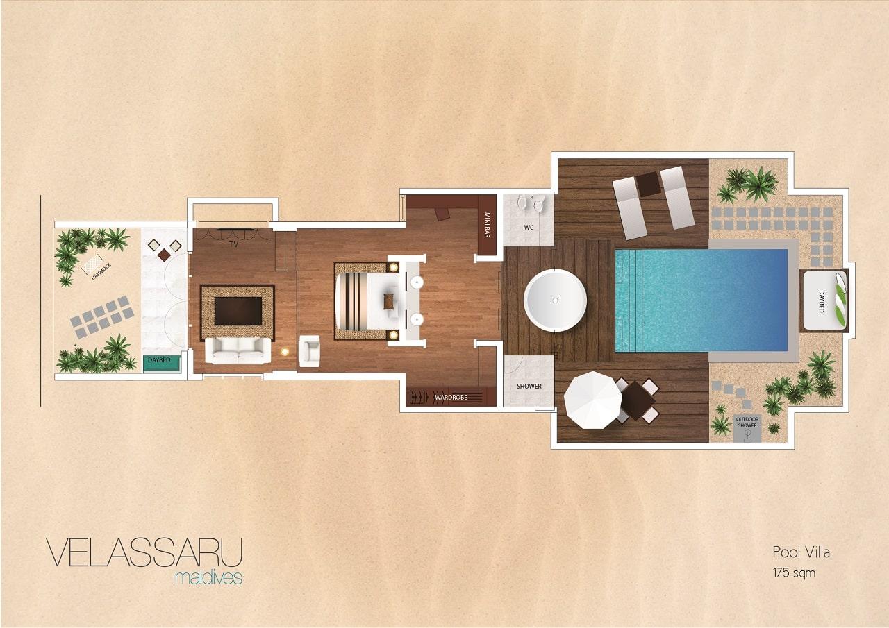 Мальдивы, отель Velassaru Maldives, план-схема номера Pool Villa