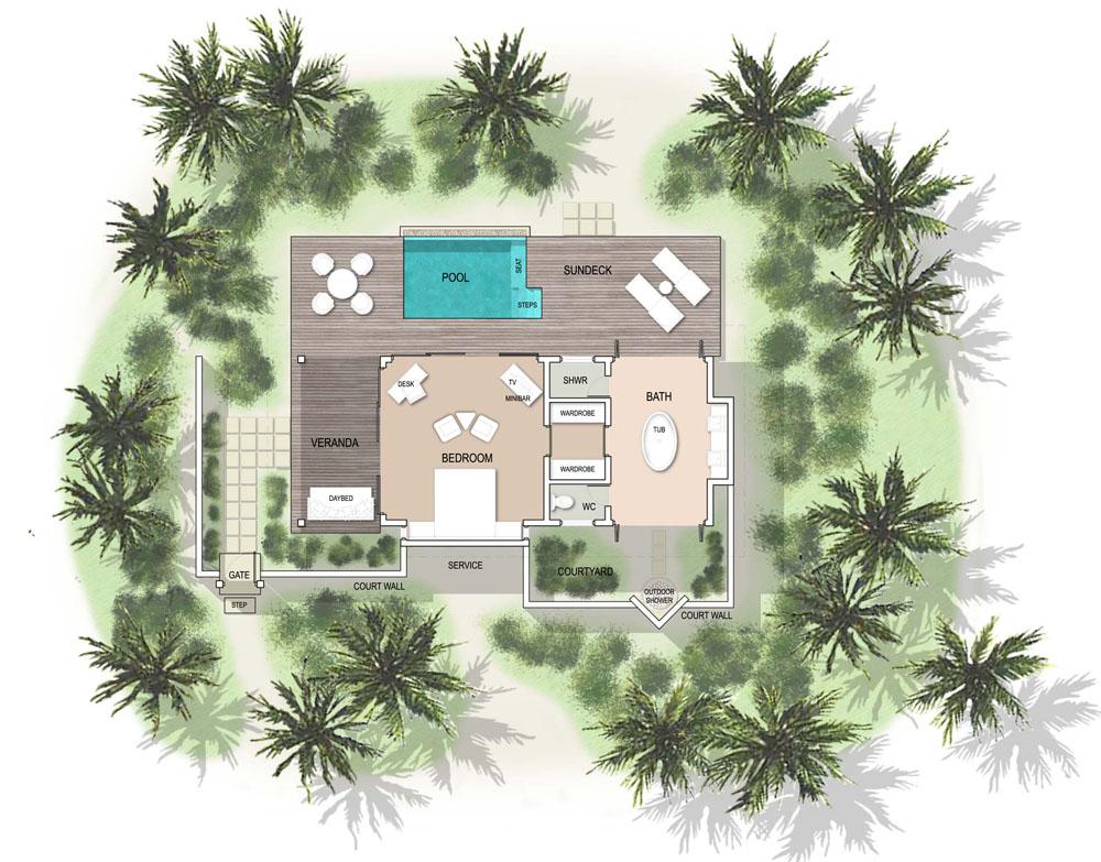 Мальдивы, отель Kandolhu Maldives, план-схема номера Pool Villa