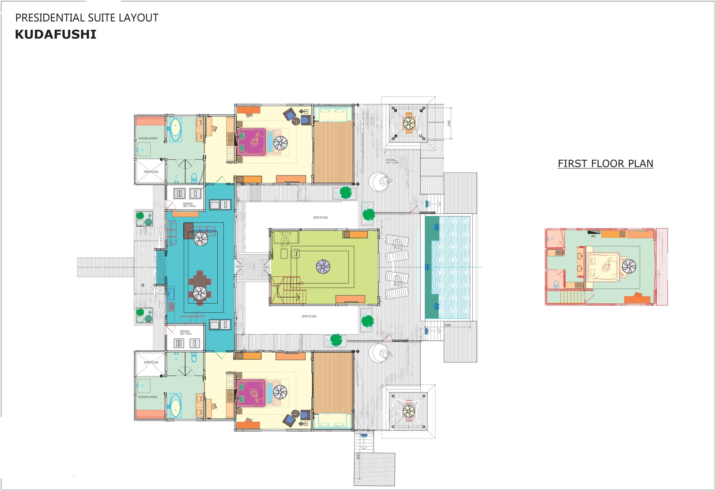Мальдивы, отель Kudafushi Resort, план-схема номера Presidential Water Suite with Pool