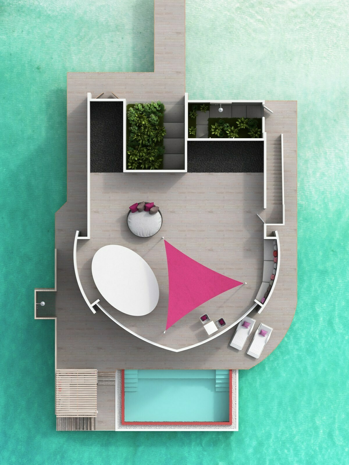 Мальдивы, отель LUX North Male Atoll, план-схема номера Prestige Water Villa with Pool