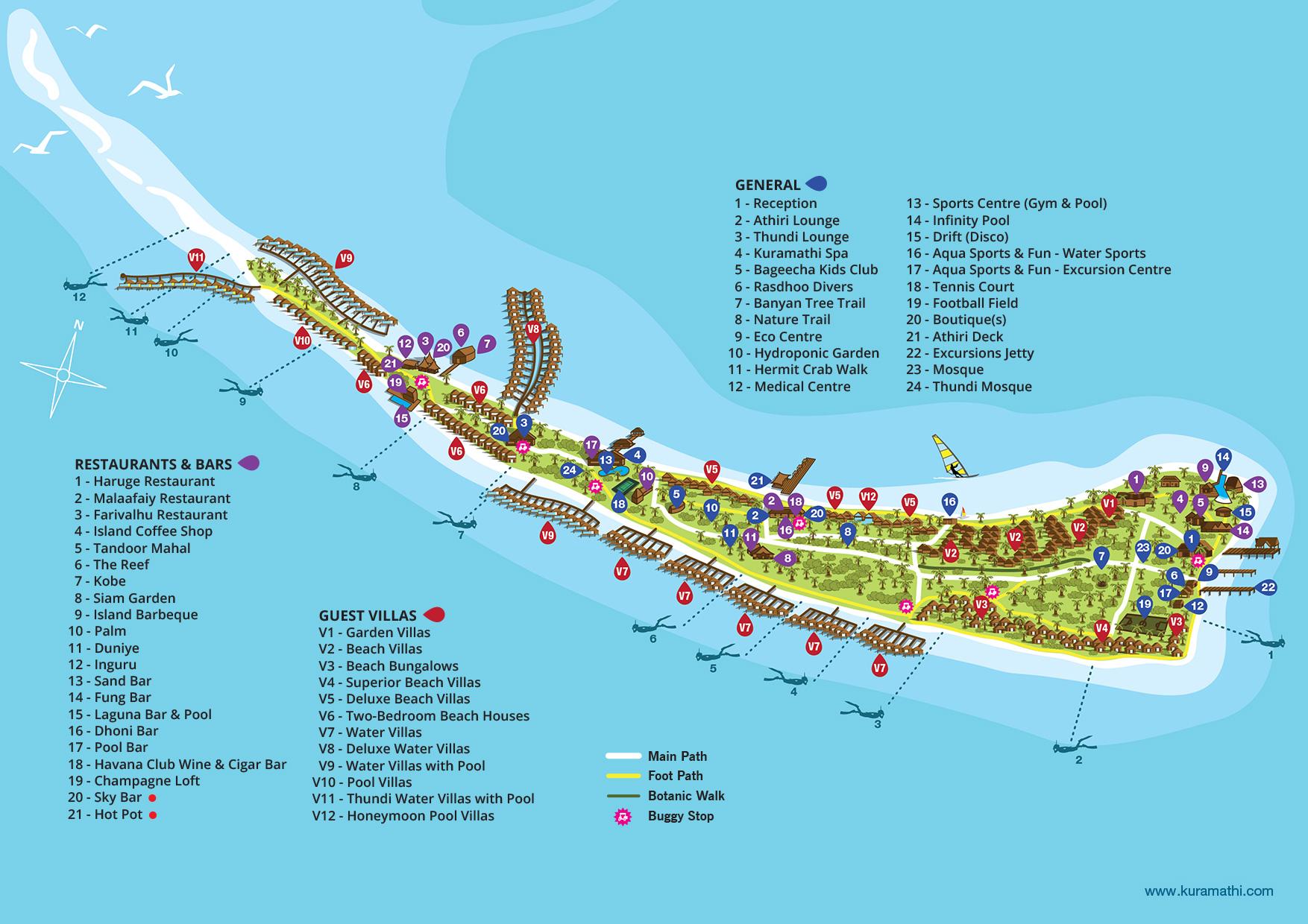 Мальдивы, Kuramathi Maldives, карта отеля