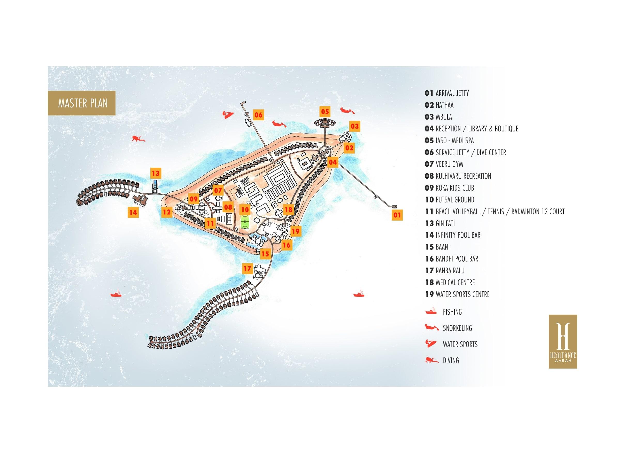 Мальдивы, Heritance Aarah, карта отеля
