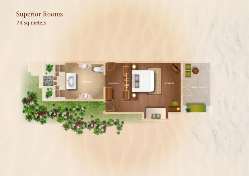 Мальдивы, отель Kurumba Maldives, план-схема номера Superior Room