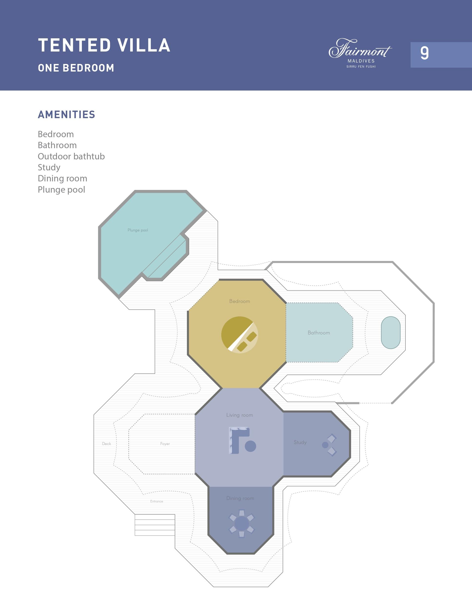 Мальдивы, отель Fairmont Maldives Sirru Fen Fushi, план-схема номера Tented Jungle Villa