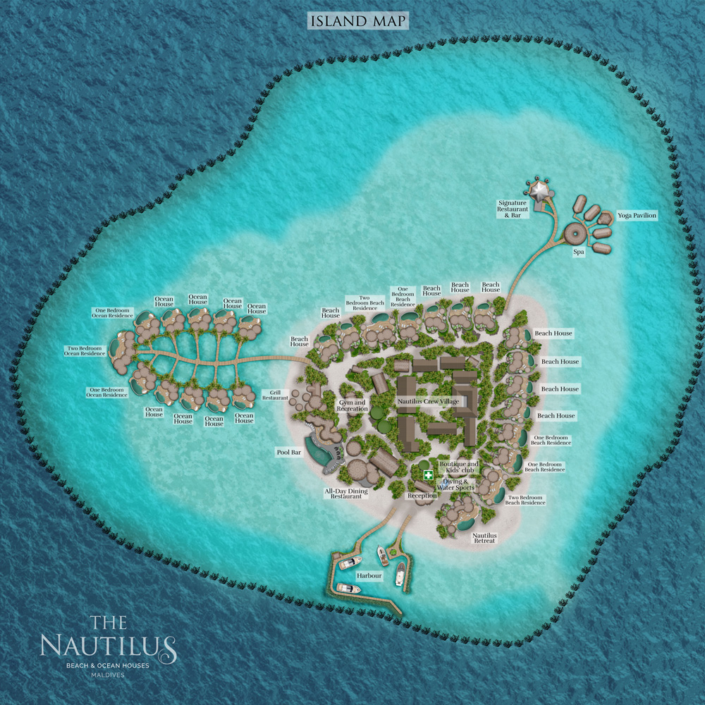 Мальдивы, The Nautilus Maldives, карта отеля