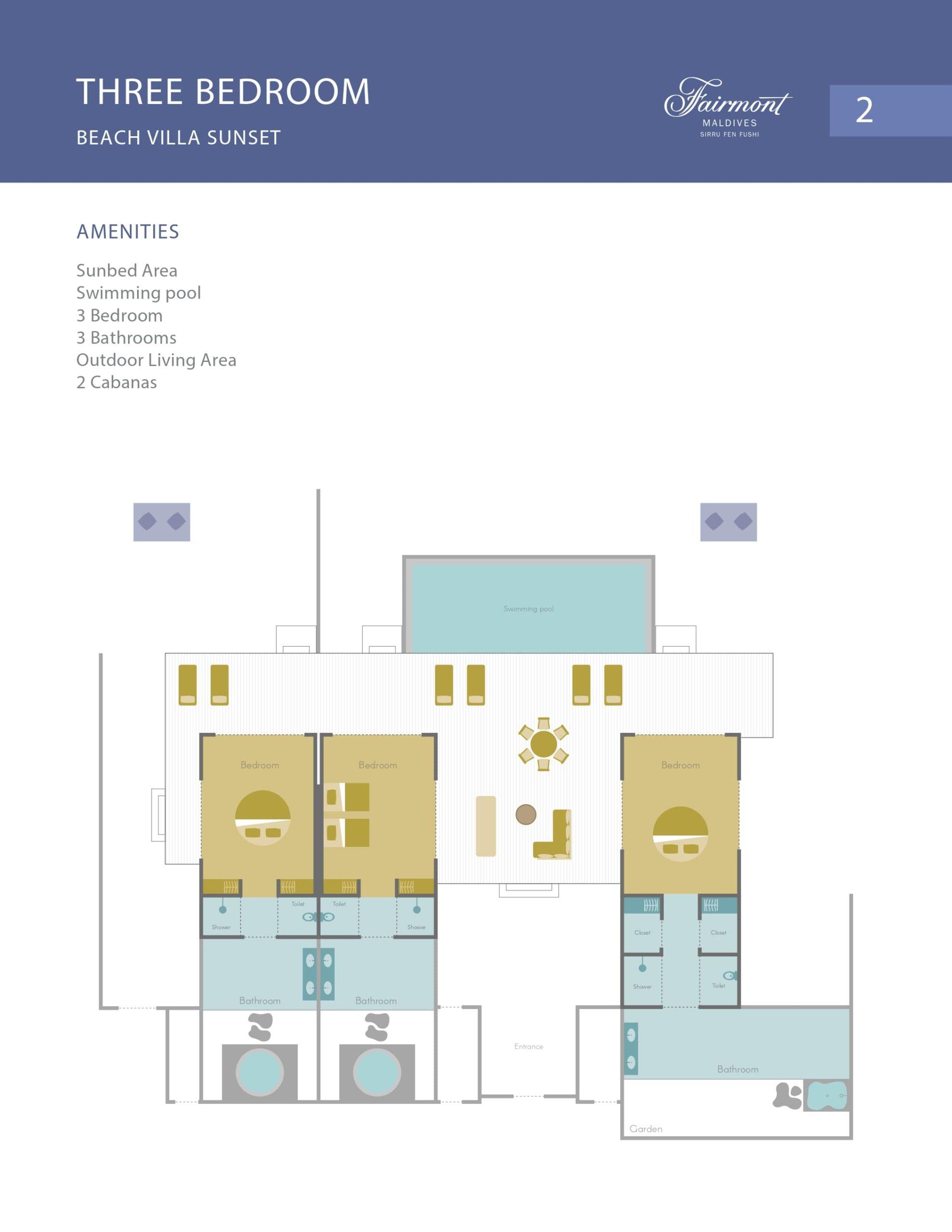 Мальдивы, отель Fairmont Maldives Sirru Fen Fushi, план-схема номера Three Bedroom Beach Sunset Villa