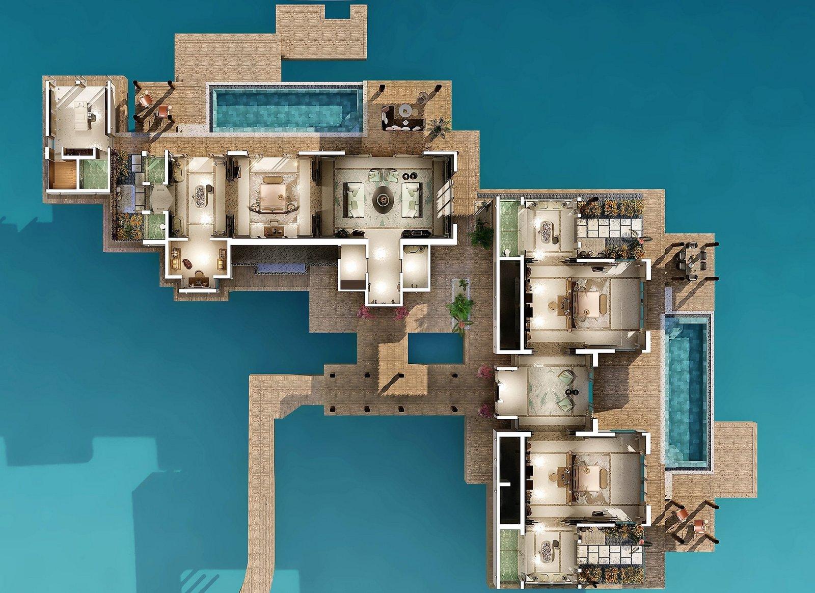 Мальдивы, отель Joali Maldives, план-схема номера Three Bed Room Ocean Residence with Two Pool