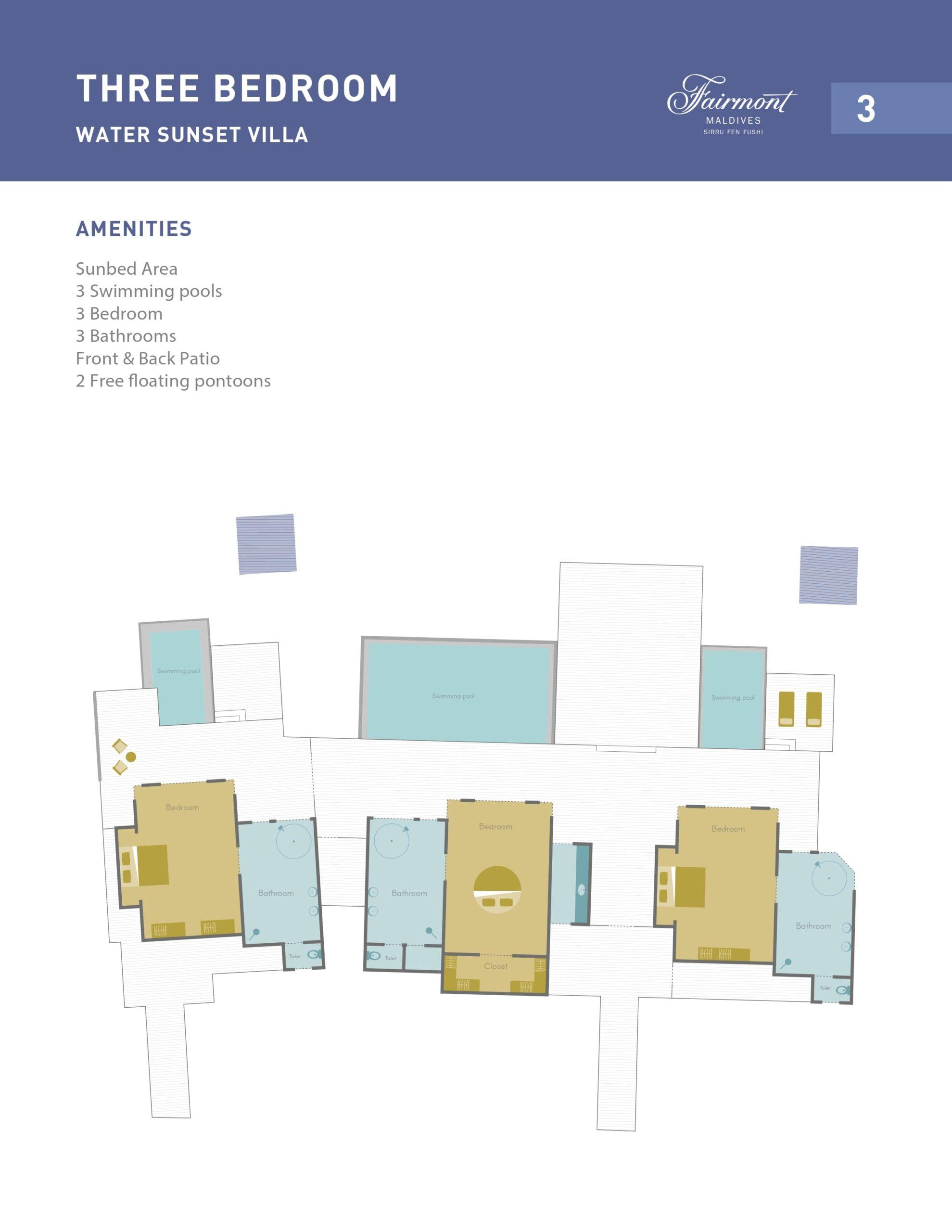 Мальдивы, отель Fairmont Maldives Sirru Fen Fushi, план-схема номера Three Bedroom Water Sunset Villa