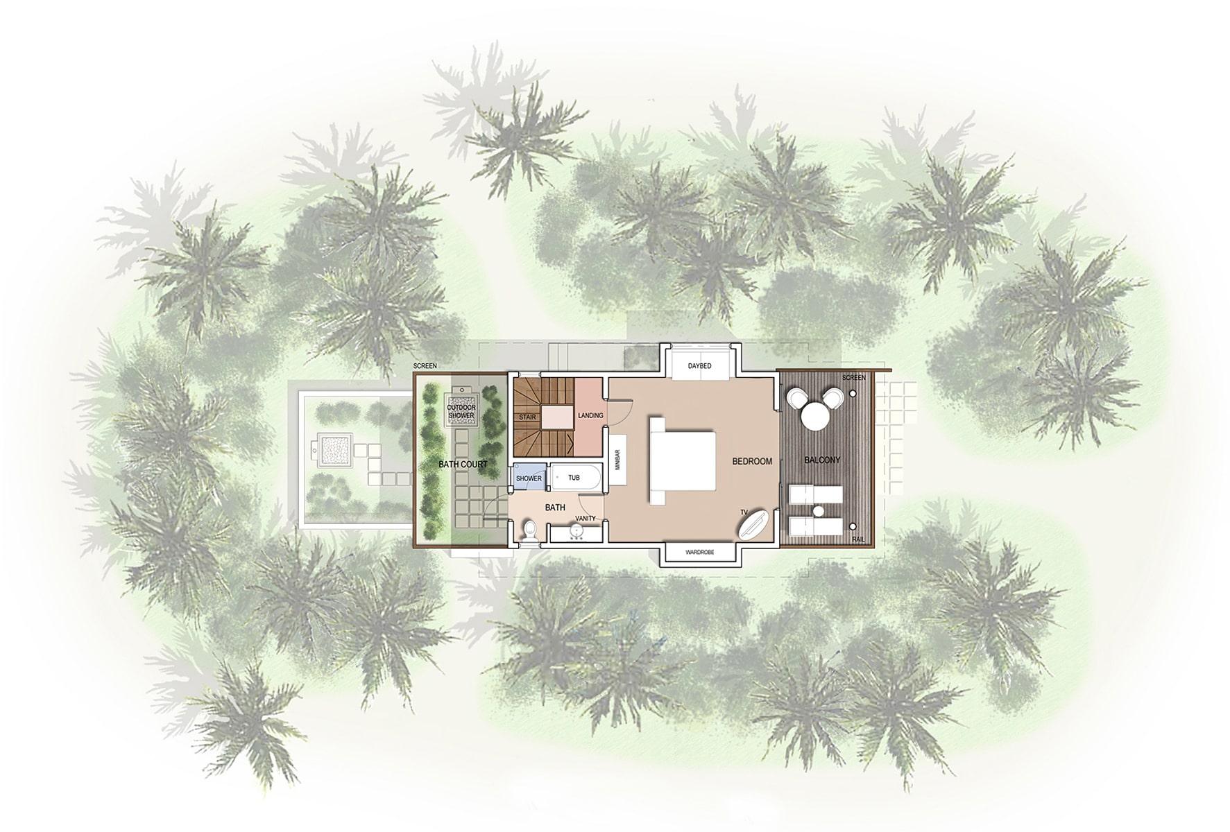 Мальдивы, отель Kuramathi Maldives, план-схема номера Two Bed room Beach Houses