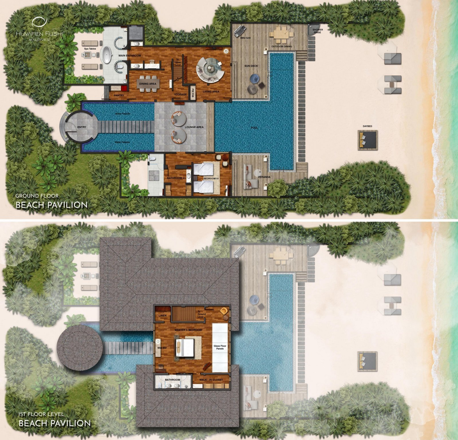 Мальдивы, отель Huvafen Fushi Maldives, план-схема номера Two Bed Room Beach Pavilion with Pool