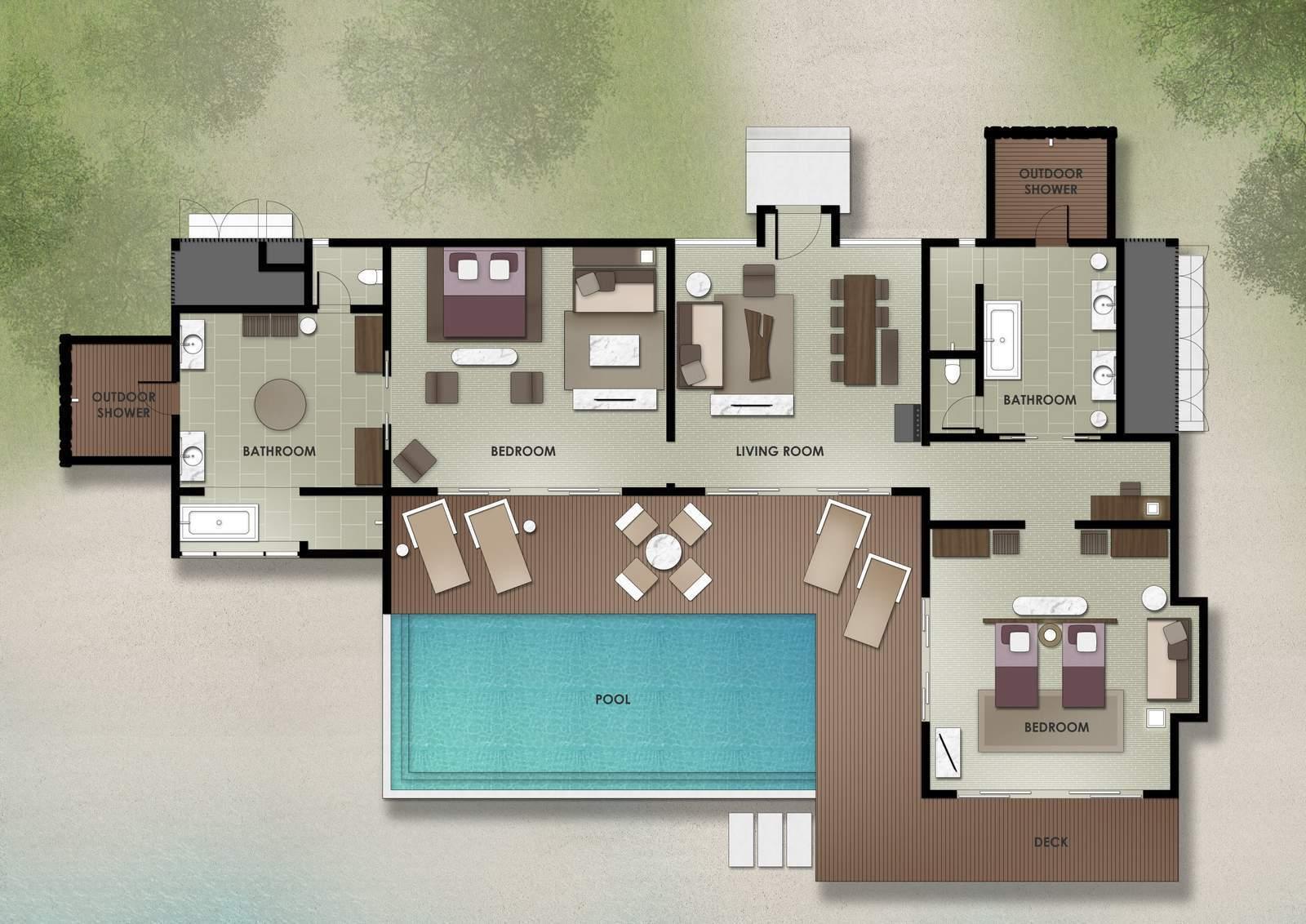 Мальдивы, отель The Residence Maldives at Dhigurah, план-схема номера Two-Bedroom Beach Pool Villa