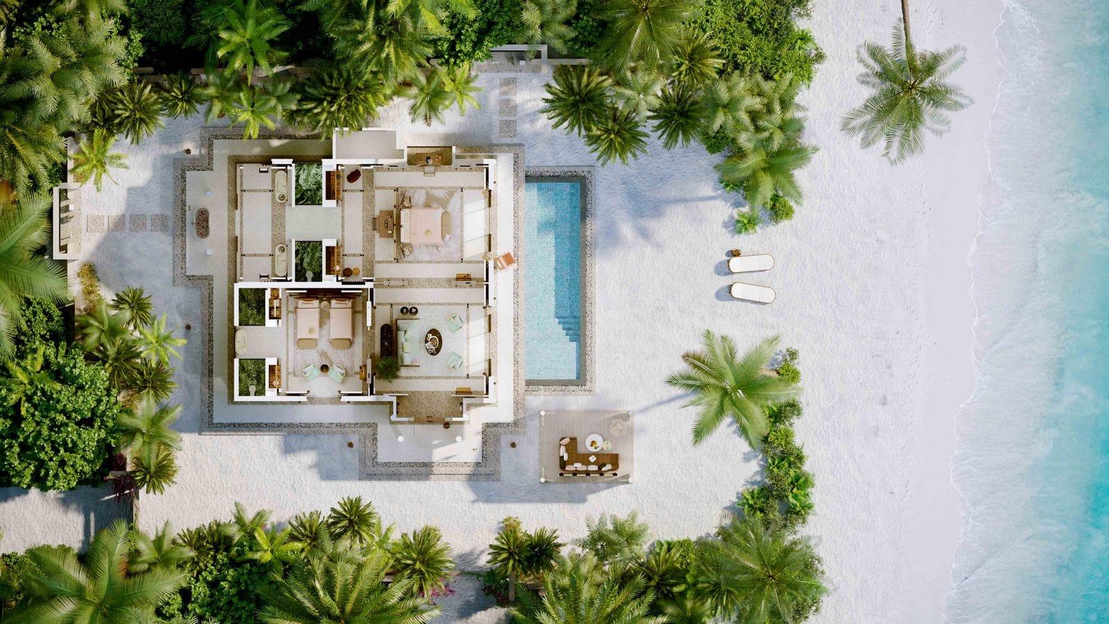 Мальдивы, отель Joali Maldives, план-схема номера Two Bed Room Luxury Beach Villa with Two Pool
