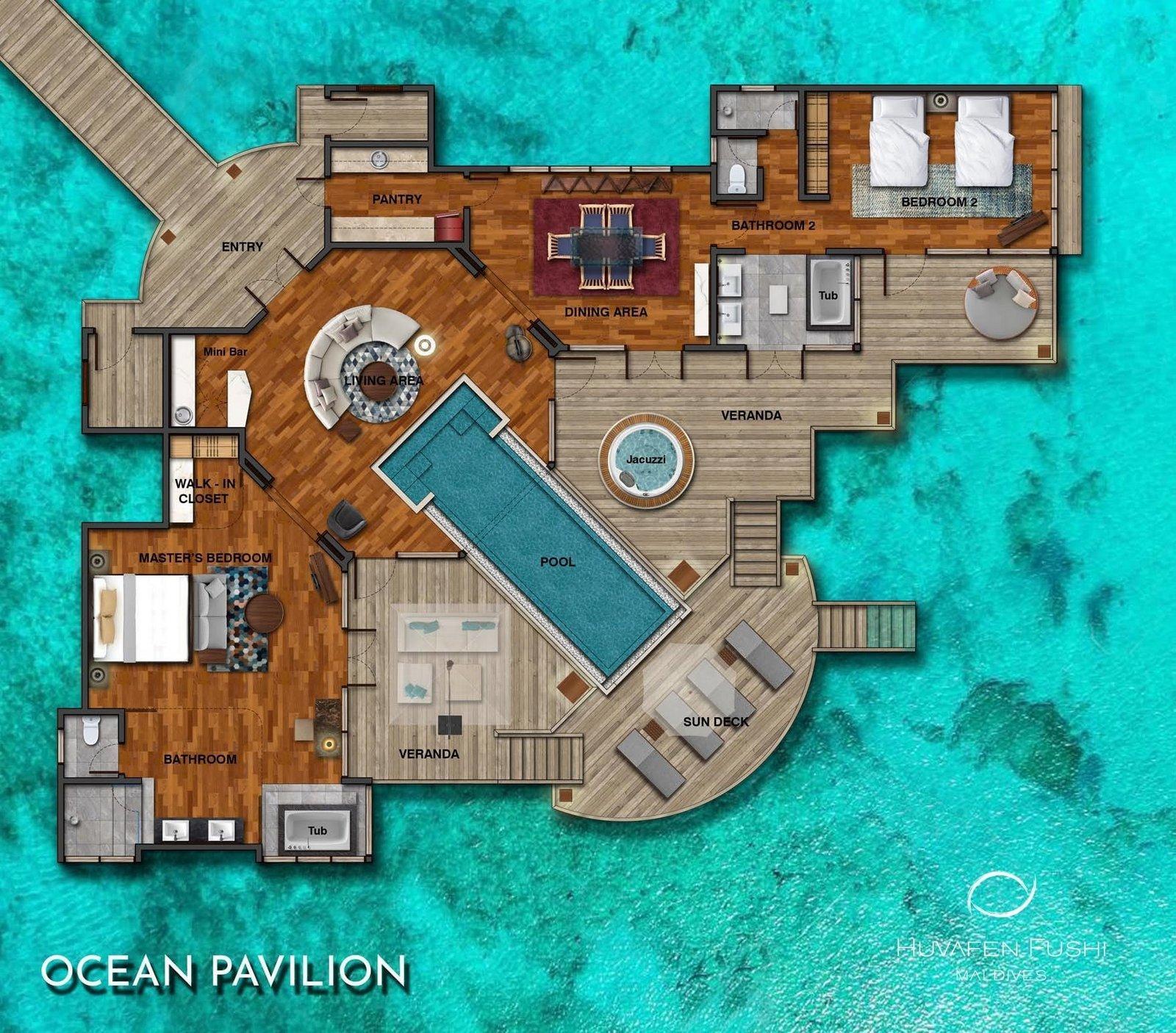 Мальдивы, отель Huvafen Fushi Maldives, план-схема номера Two Bed Room Ocean Bungalow with Pool