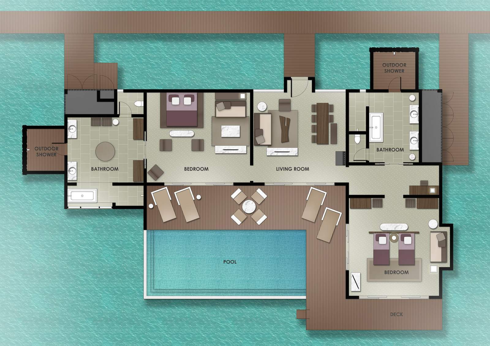 Мальдивы, отель The Residence Maldives at Dhigurah, план-схема номера Two-Bedroom Water Pool Villa