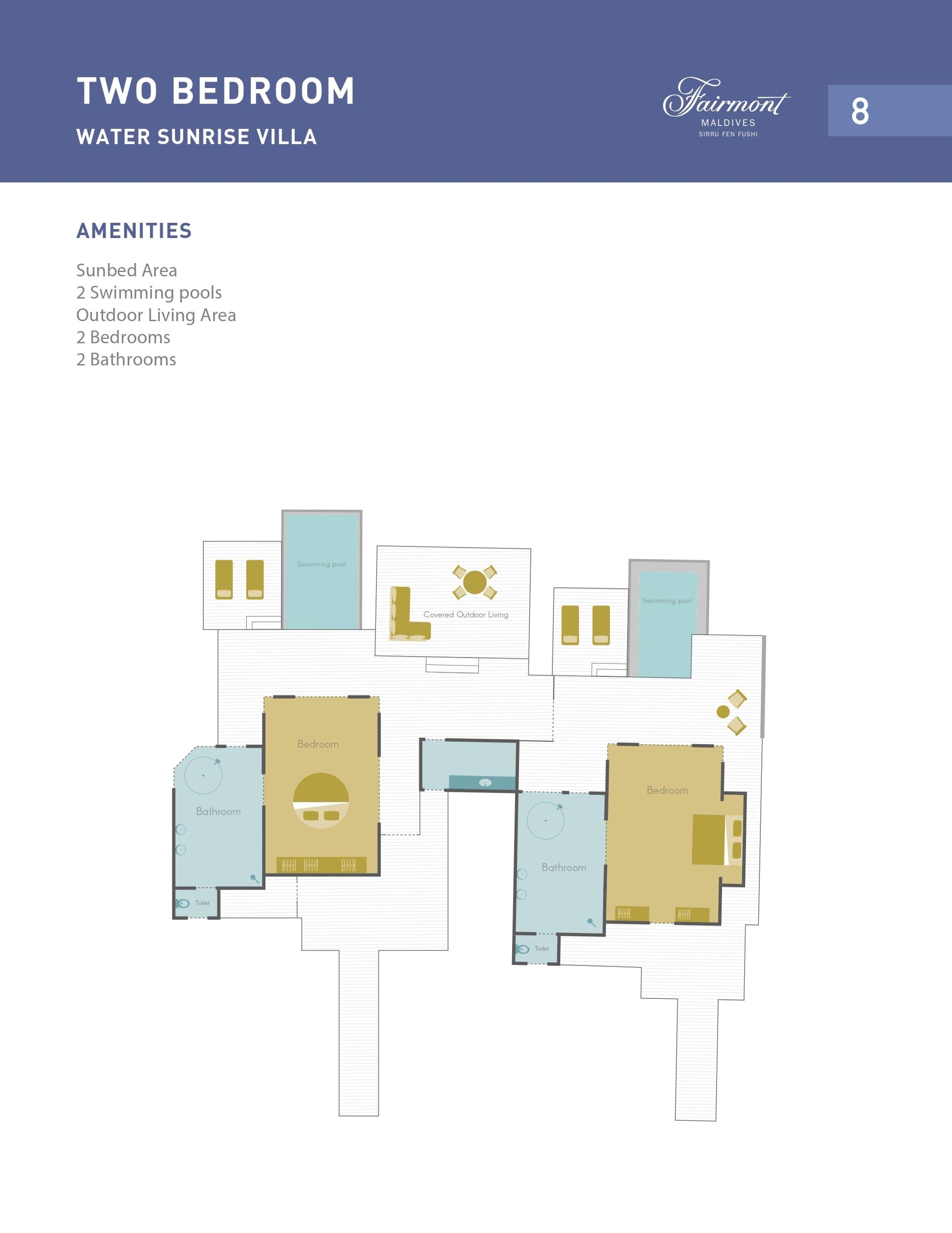 Мальдивы, отель Fairmont Maldives Sirru Fen Fushi, план-схема номера Two Bedroom Water Villa