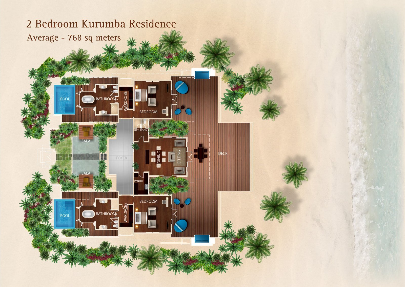 Мальдивы, отель Kurumba Maldives, план-схема номера Two Bed Room Kurumba Residence