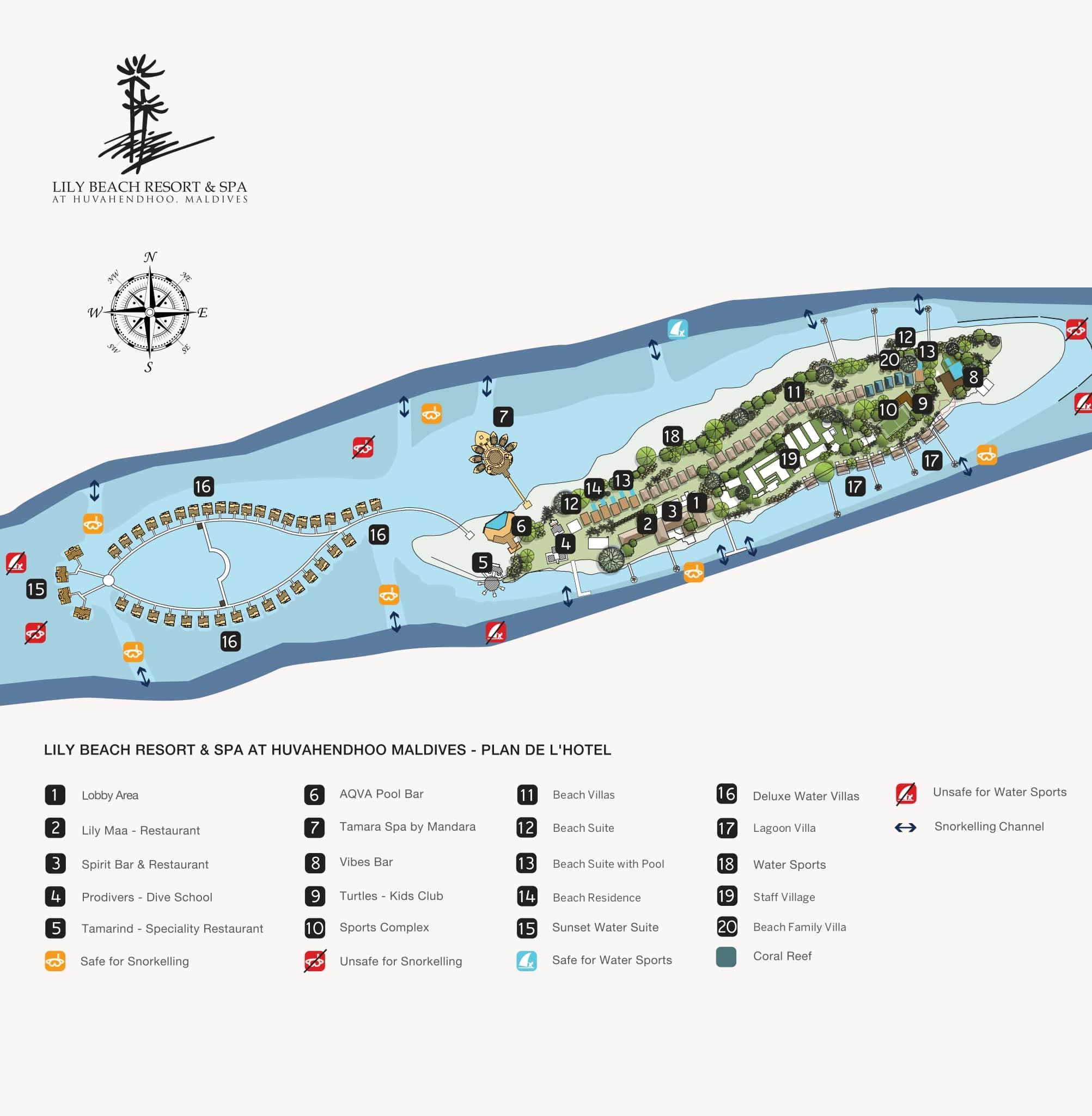 Мальдивы, Lily Beach Resort, карта отеля