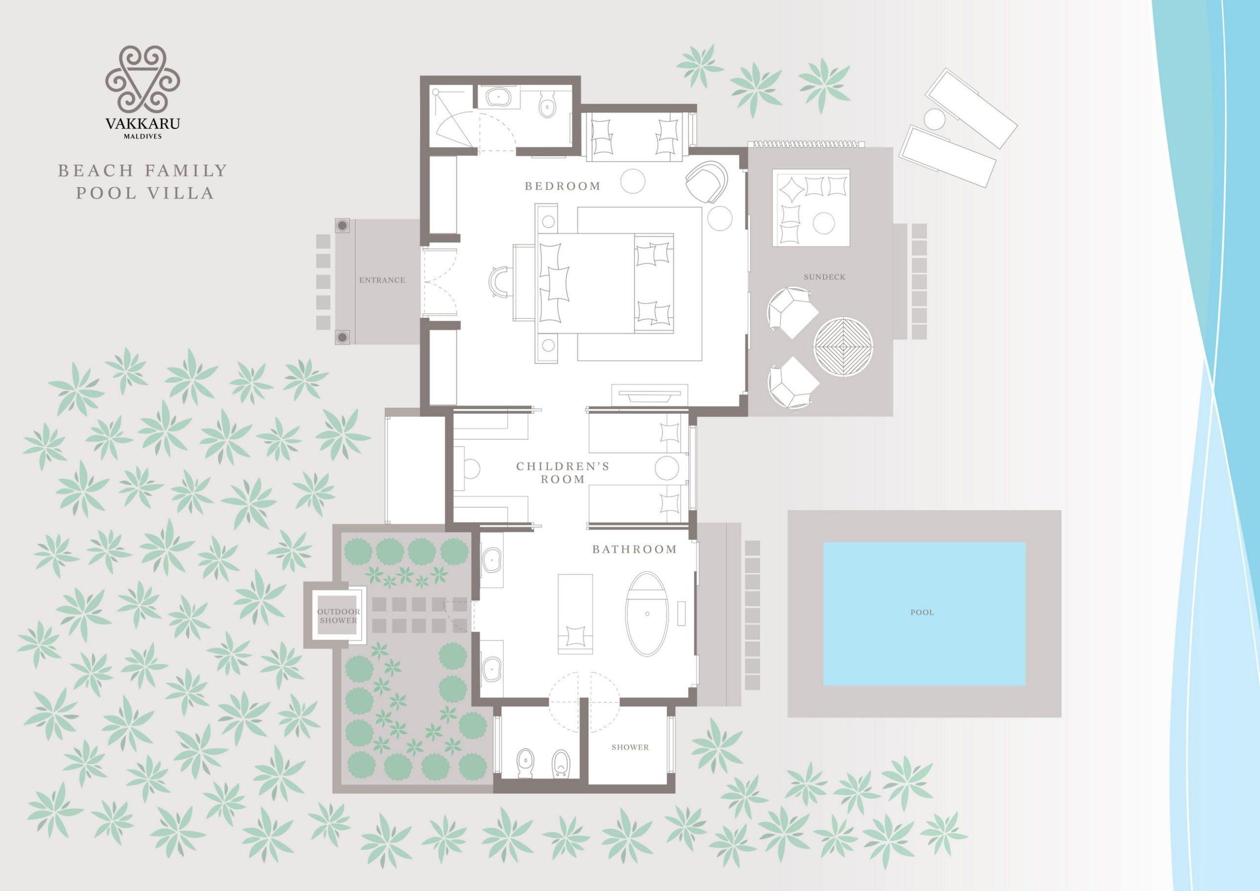 Мальдивы, отель Vakkaru Maldives, план-схема номера Family Beach Pool Villa