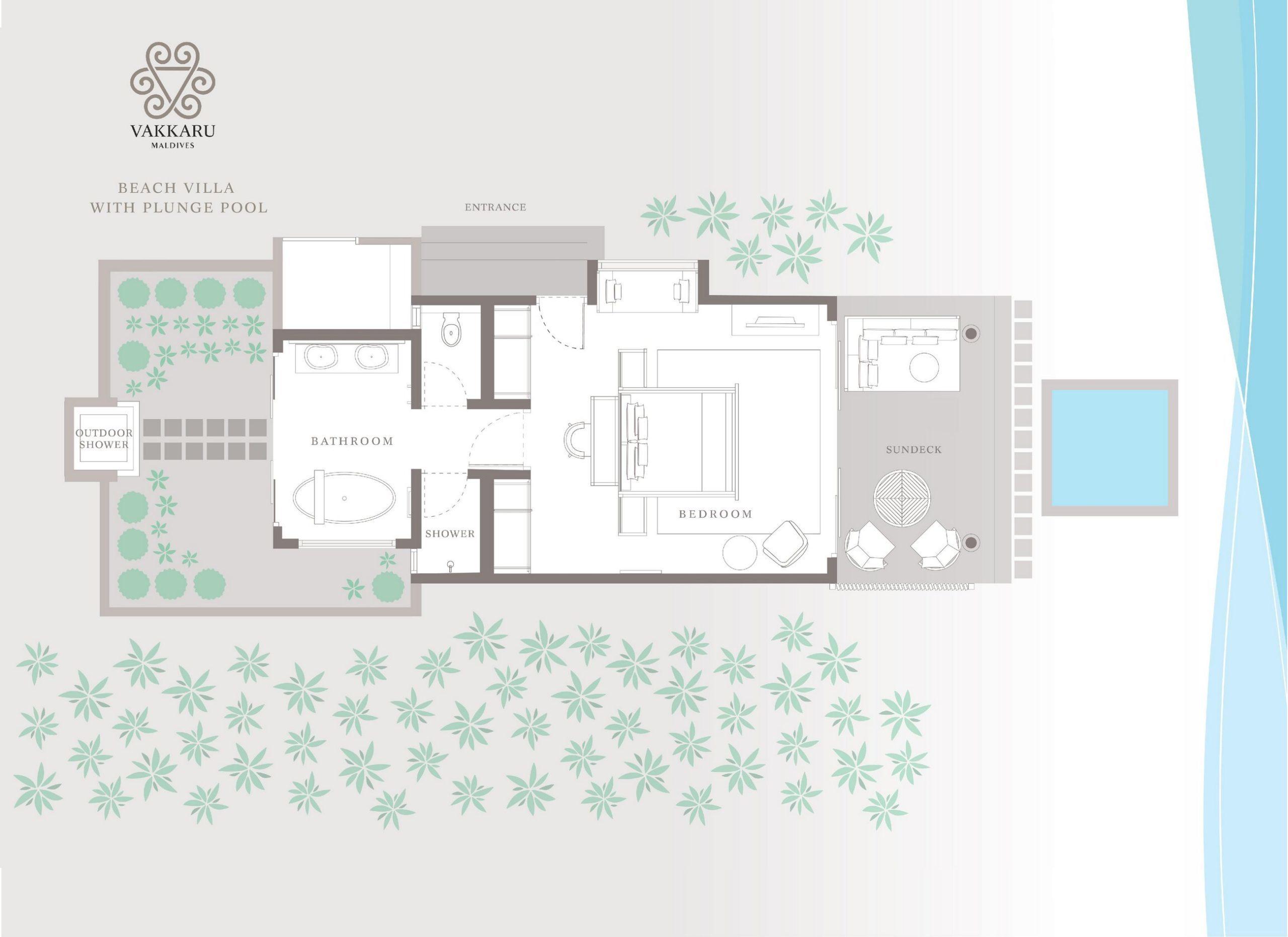 Мальдивы, отель Vakkaru Maldives, план-схема номера Beach Villa with Plunge Pool