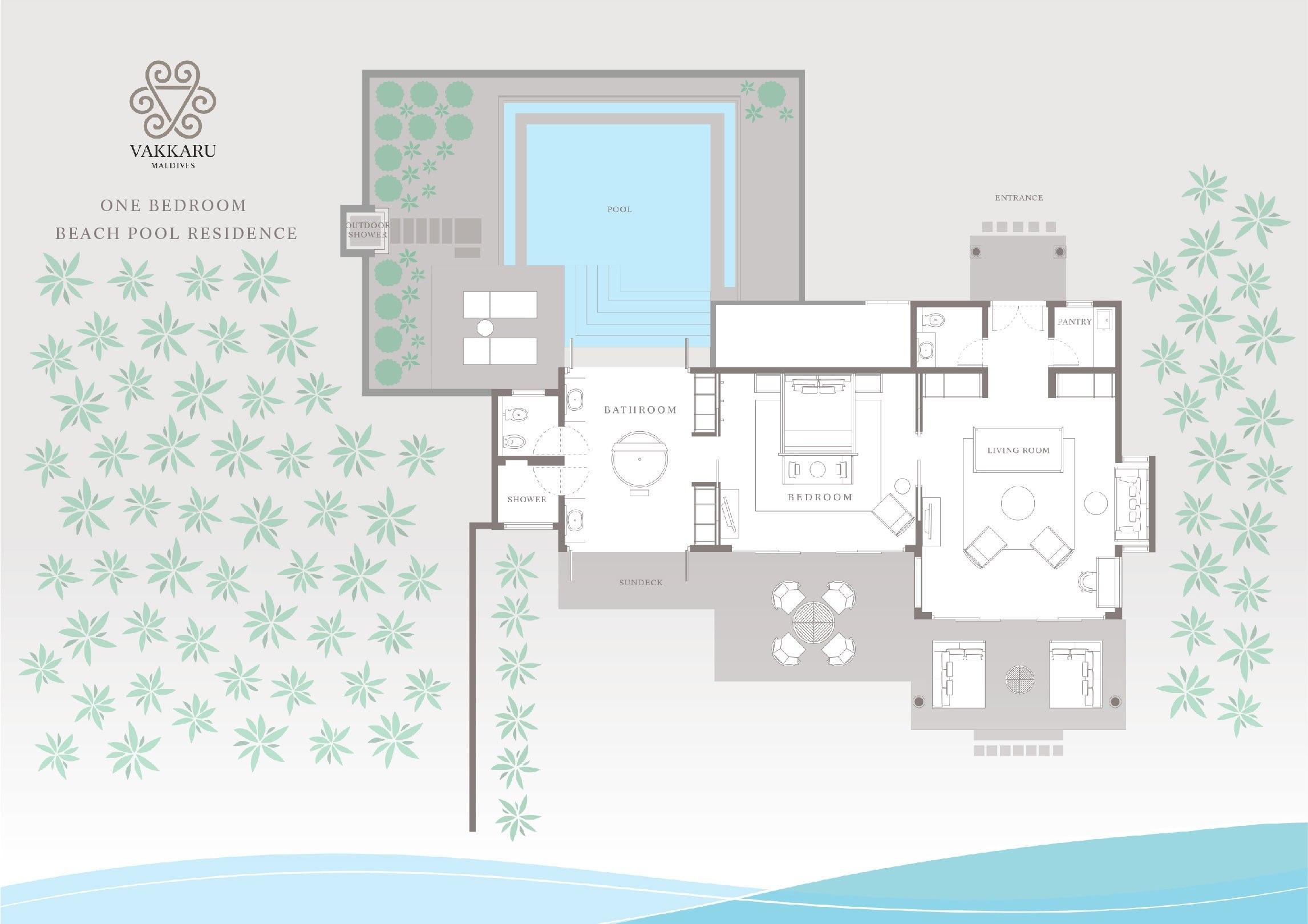 Мальдивы, отель Vakkaru Maldives, план-схема номера Beach Pool Residence