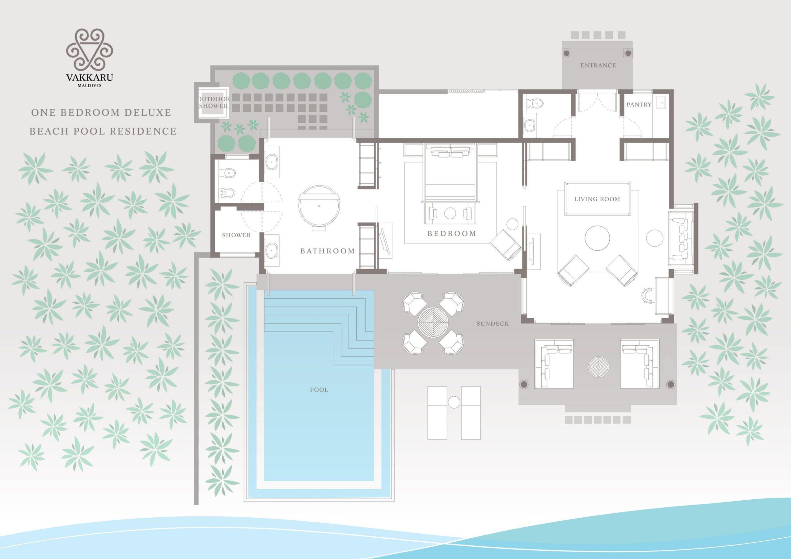 Мальдивы, отель Vakkaru Maldives, план-схема номера Deluxe Beach Pool Residence
