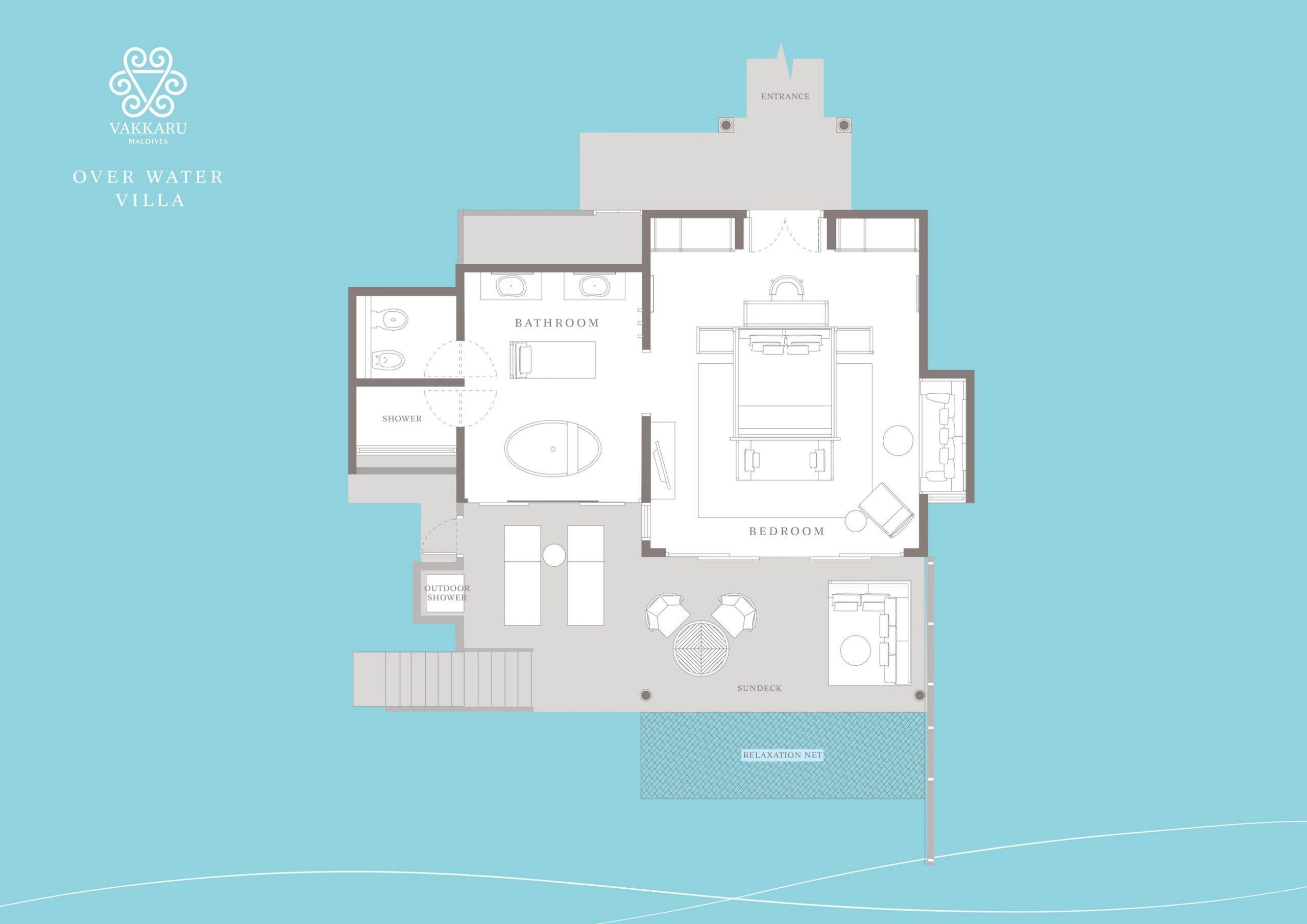 Мальдивы, отель Vakkaru Maldives, план-схема номера Over Water Villa