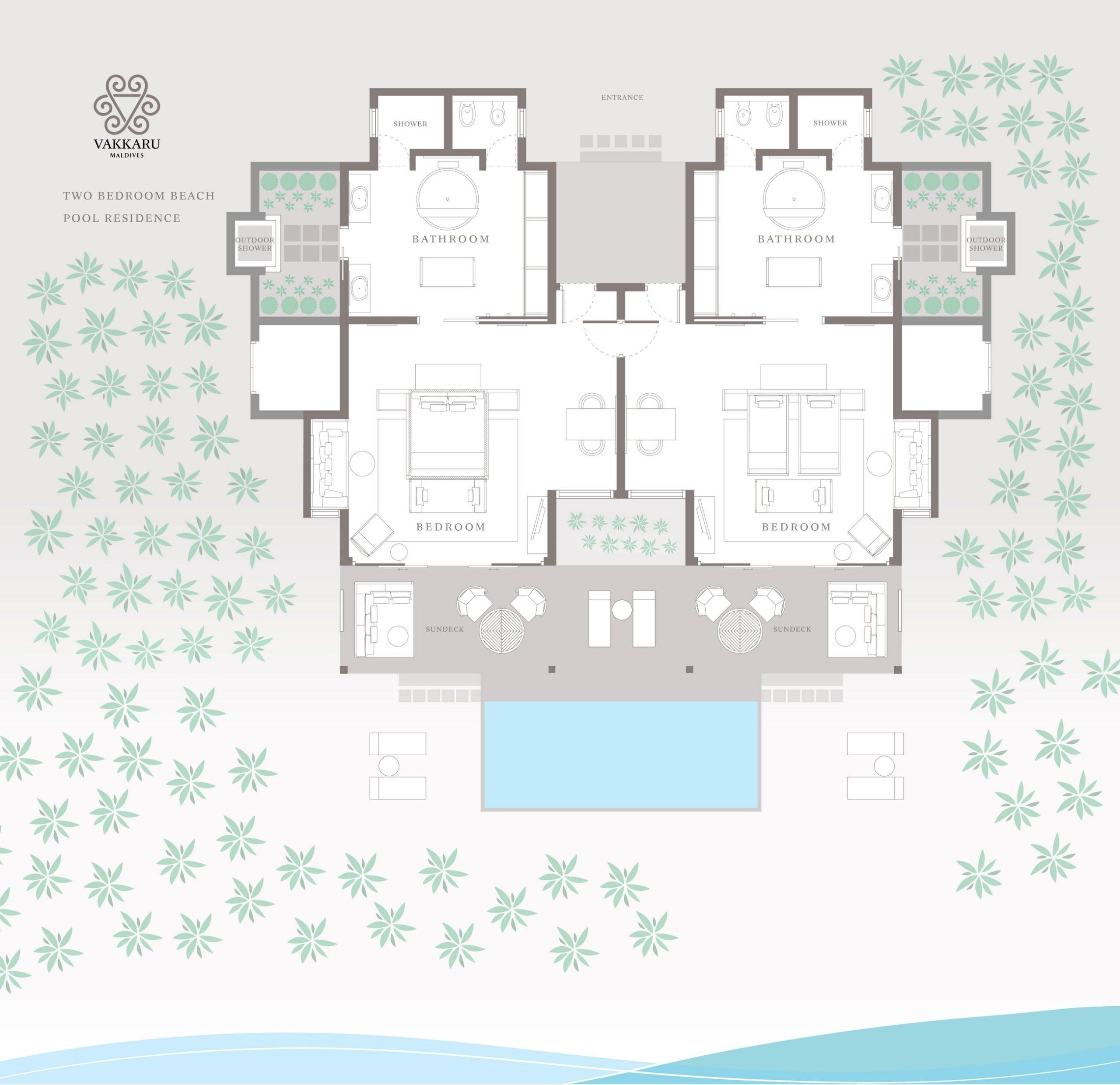 Мальдивы, отель Vakkaru Maldives, план-схема номера Two Bed Room Beach Pool Residence