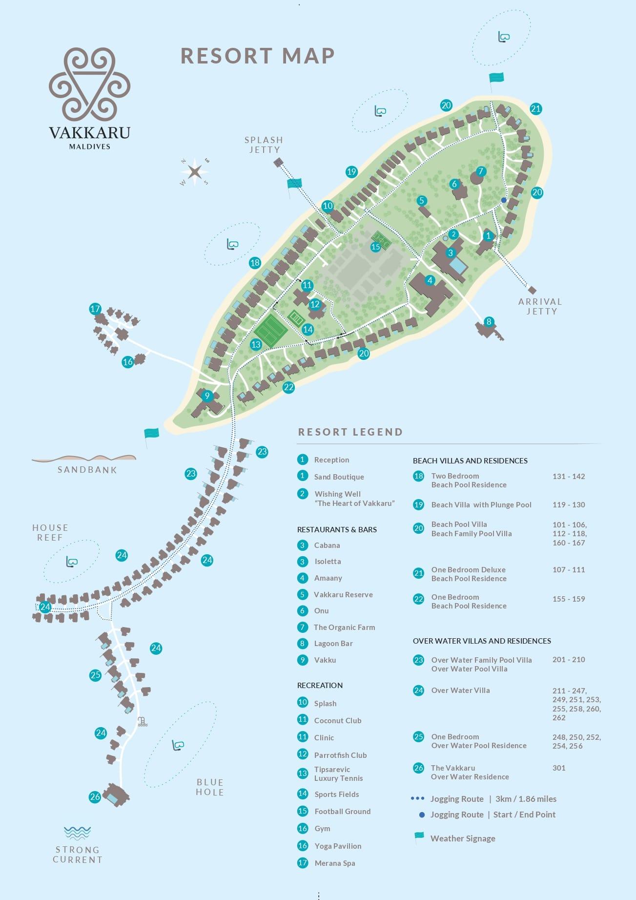Мальдивы, Vakkaru Maldives, карта отеля