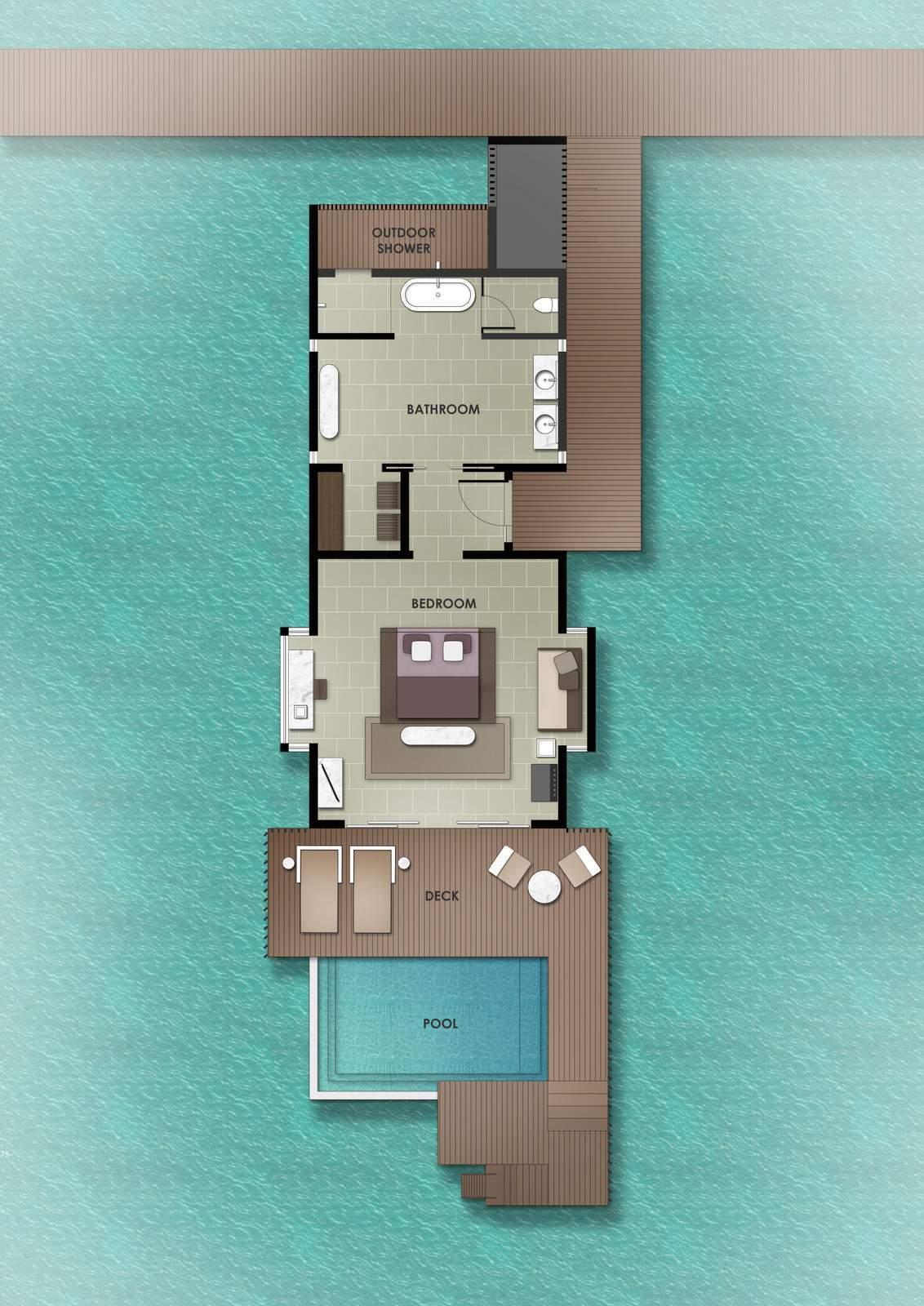 Мальдивы, отель The Residence Maldives at Dhigurah, план-схема номера Water Pool Villa