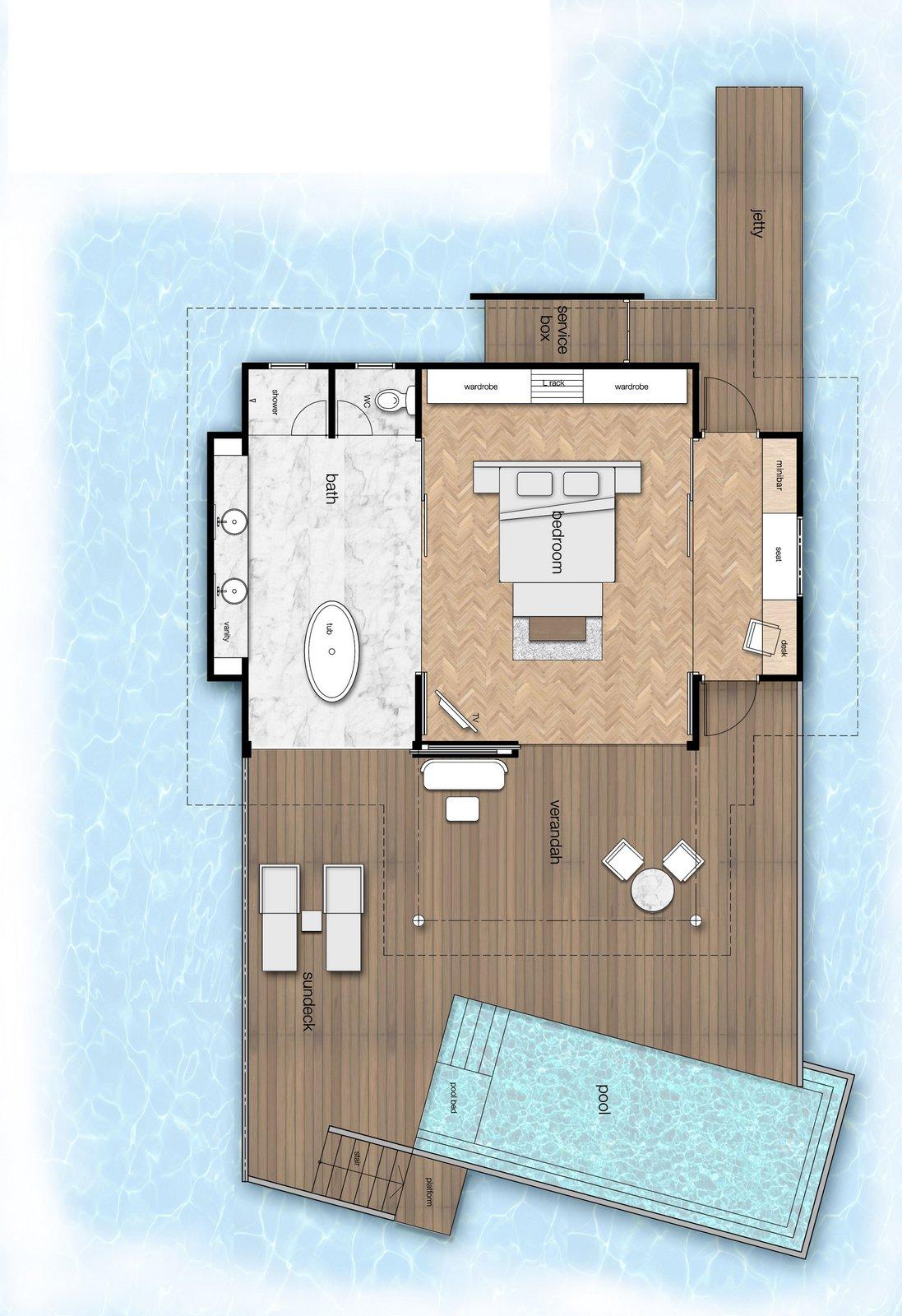 Мальдивы, отель LTI Maafushivaru Maldives, план-схема номера Water Pool Villa